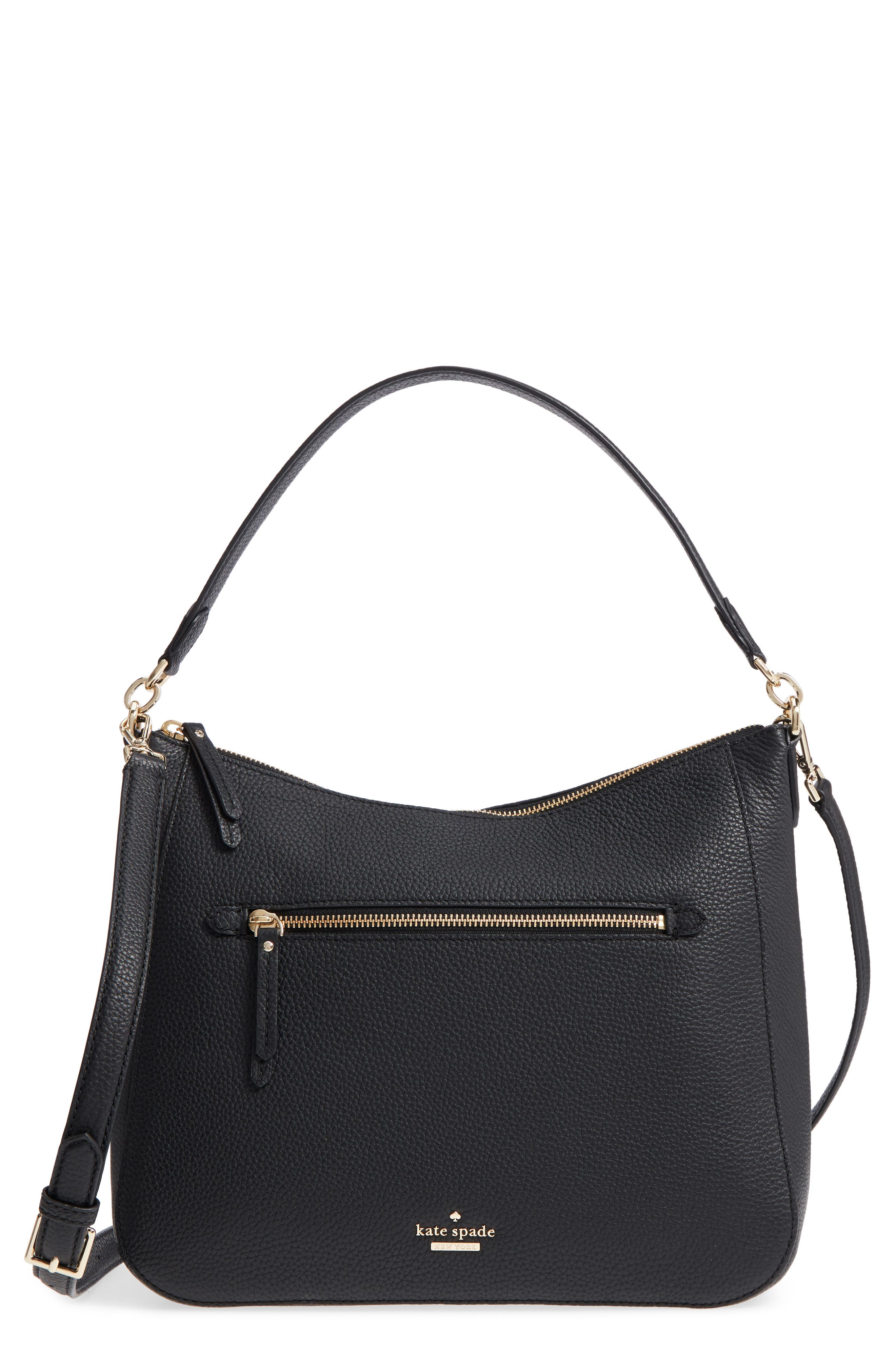 trent hill - quincy leather hobo,                         Main,                         color, Black