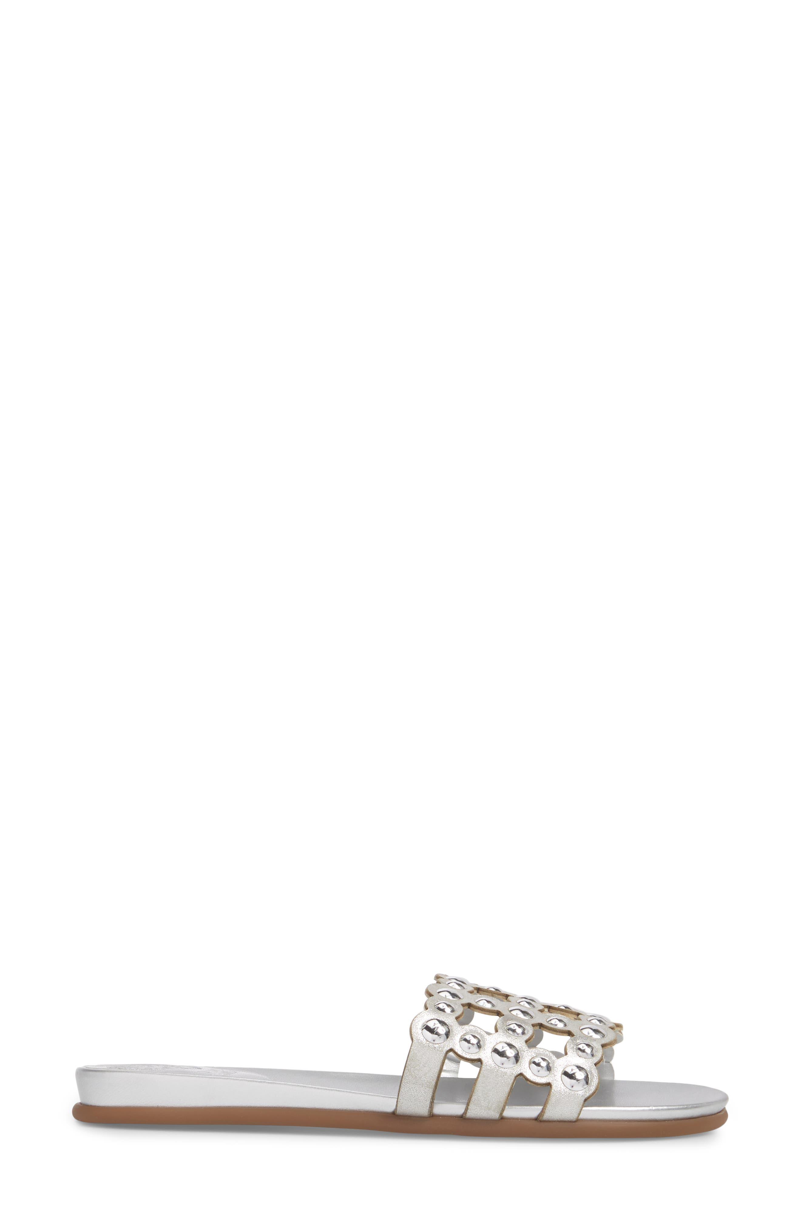Ellanna Studded Slide Sandal,                             Alternate thumbnail 3, color,                             Gleaming Silver Leather