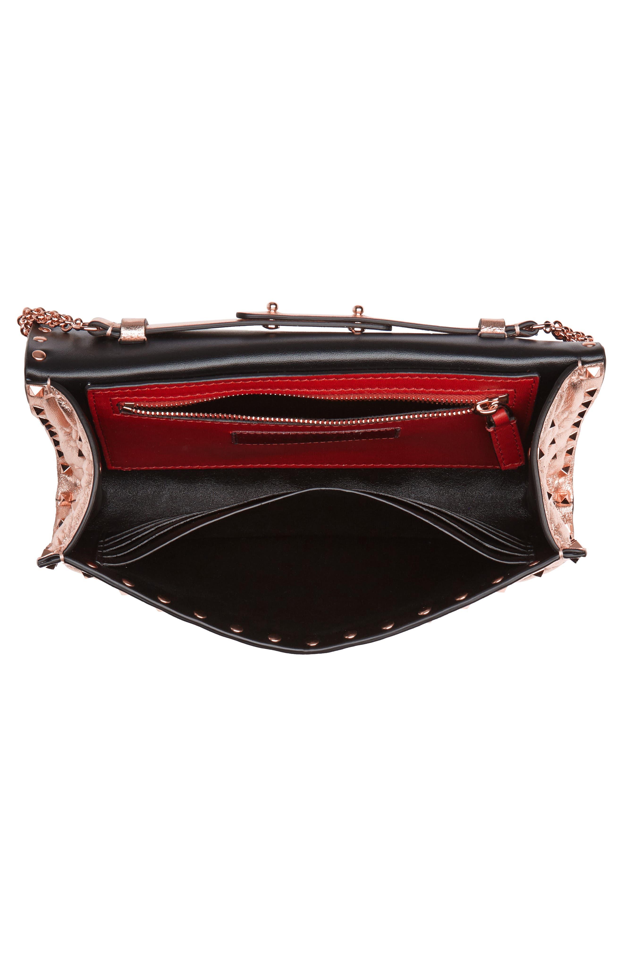 Rockstud Metallic Leather Shoulder Bag,                             Alternate thumbnail 4, color,                             Rosegold