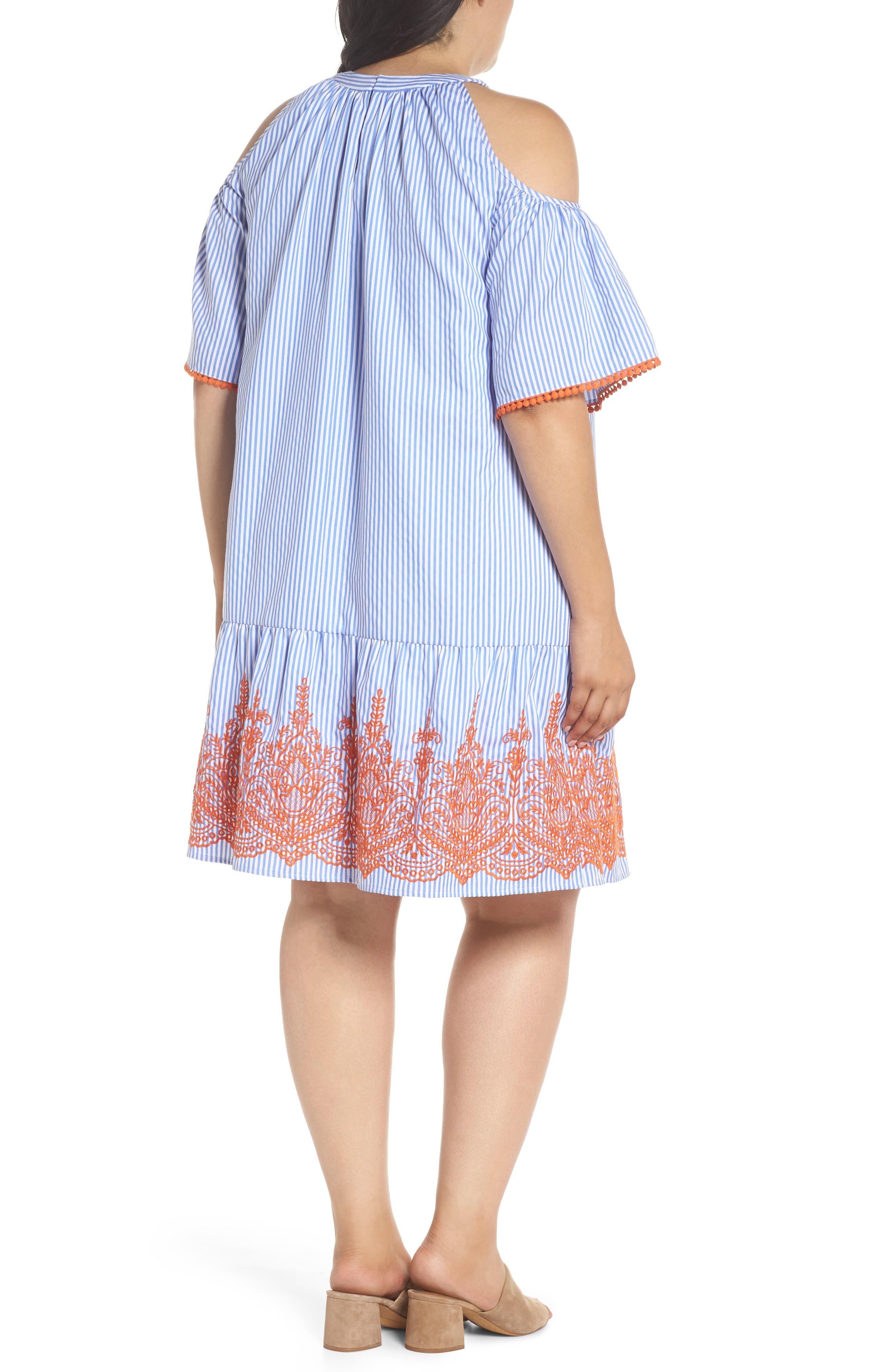 Embroidered Stripe Cold Shoulder Shift Dress,                             Alternate thumbnail 2, color,                             Blue/ White/ Orange