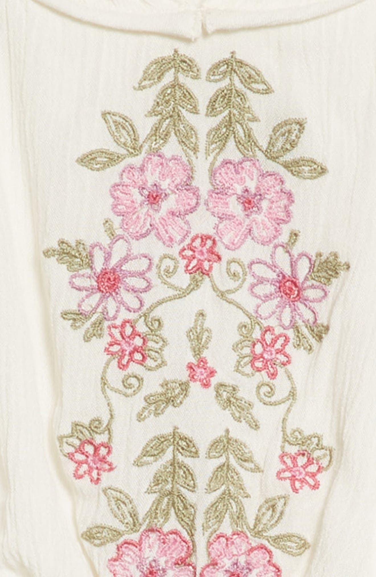 Malina Floral Embroidered Dress,                             Alternate thumbnail 4, color,                             White