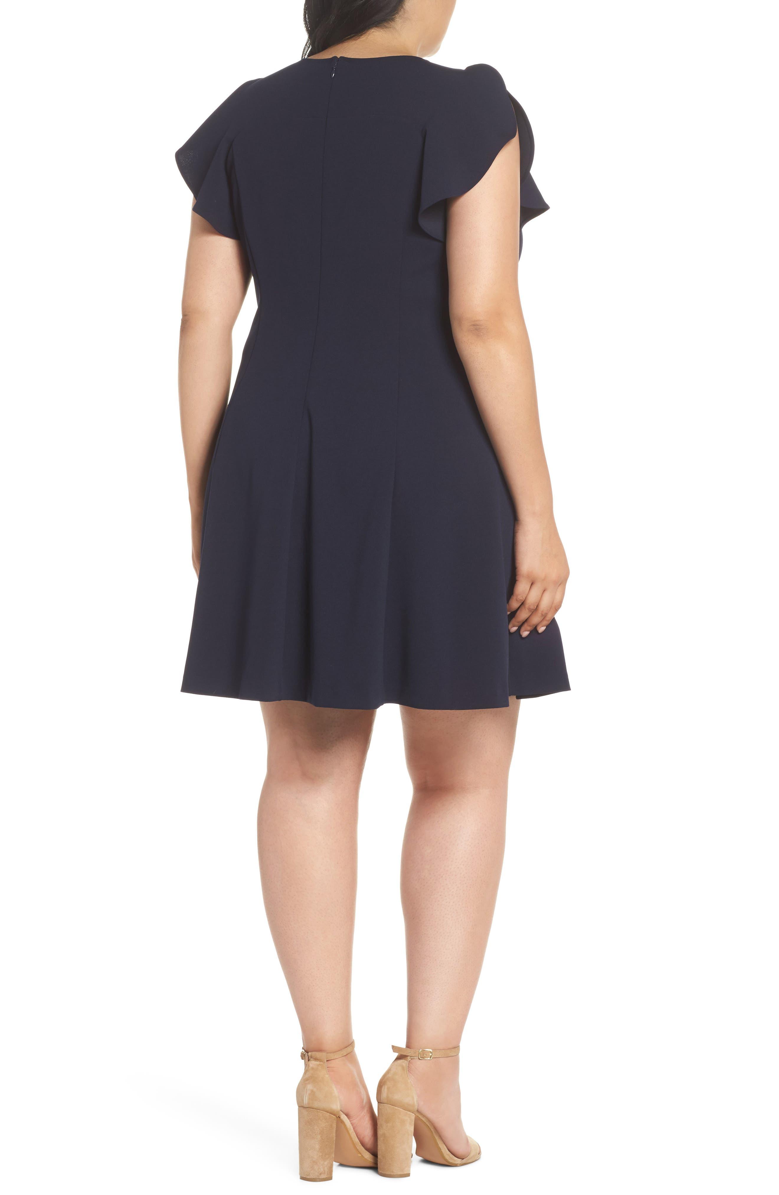 Ruffle Sleeve Scuba Crepe A-Line Dress,                             Alternate thumbnail 2, color,                             Navy