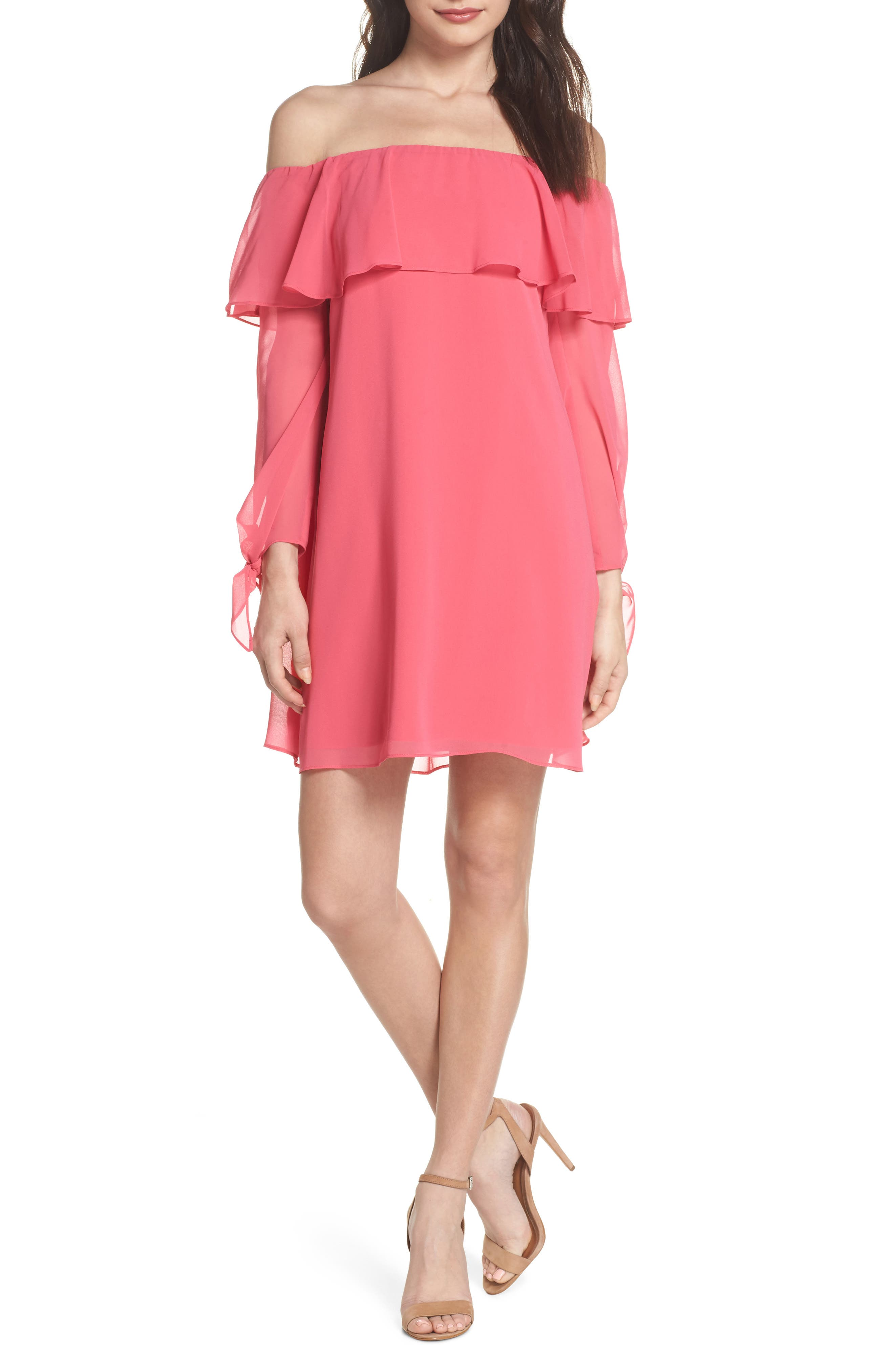 Off the Shoulder Tie-Cuff Shift Dress,                             Main thumbnail 1, color,                             Hot Pink
