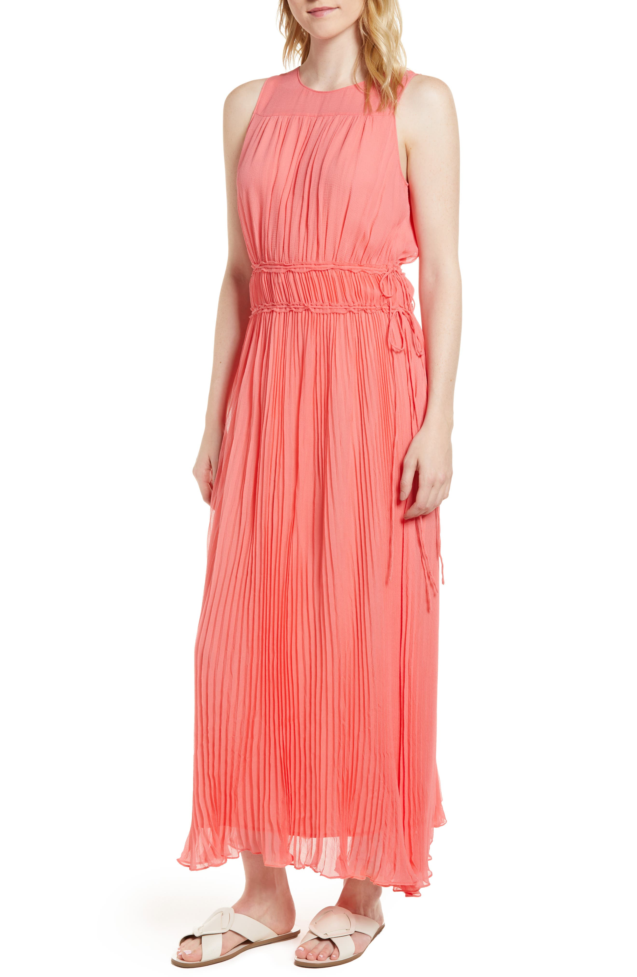 Pleated Crinkle Silk Maxi Dress,                         Main,                         color, Coral Sugar