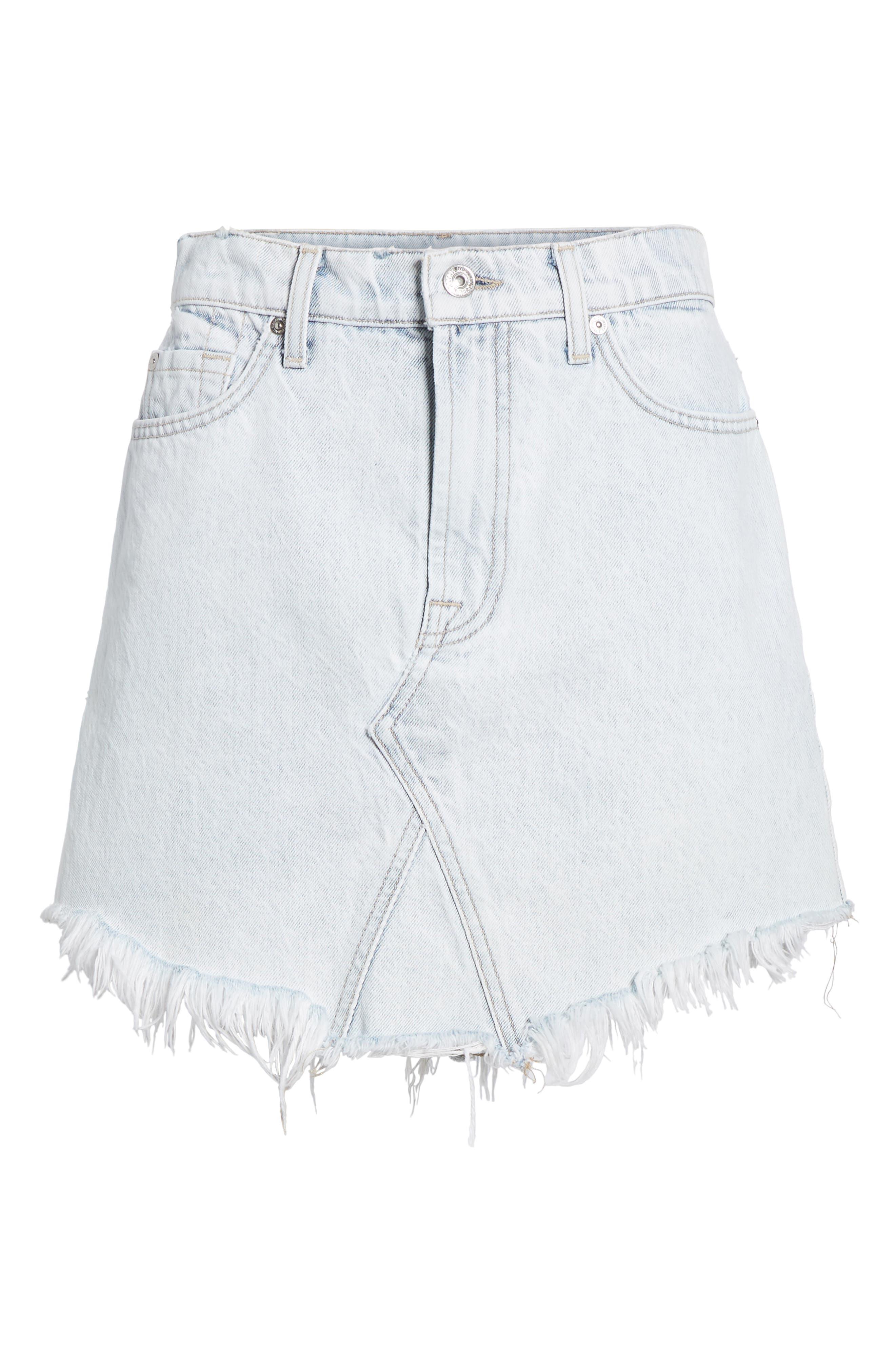 Scallop Fray Hem Denim Skirt,                             Alternate thumbnail 6, color,                             Desert Sun Bleached