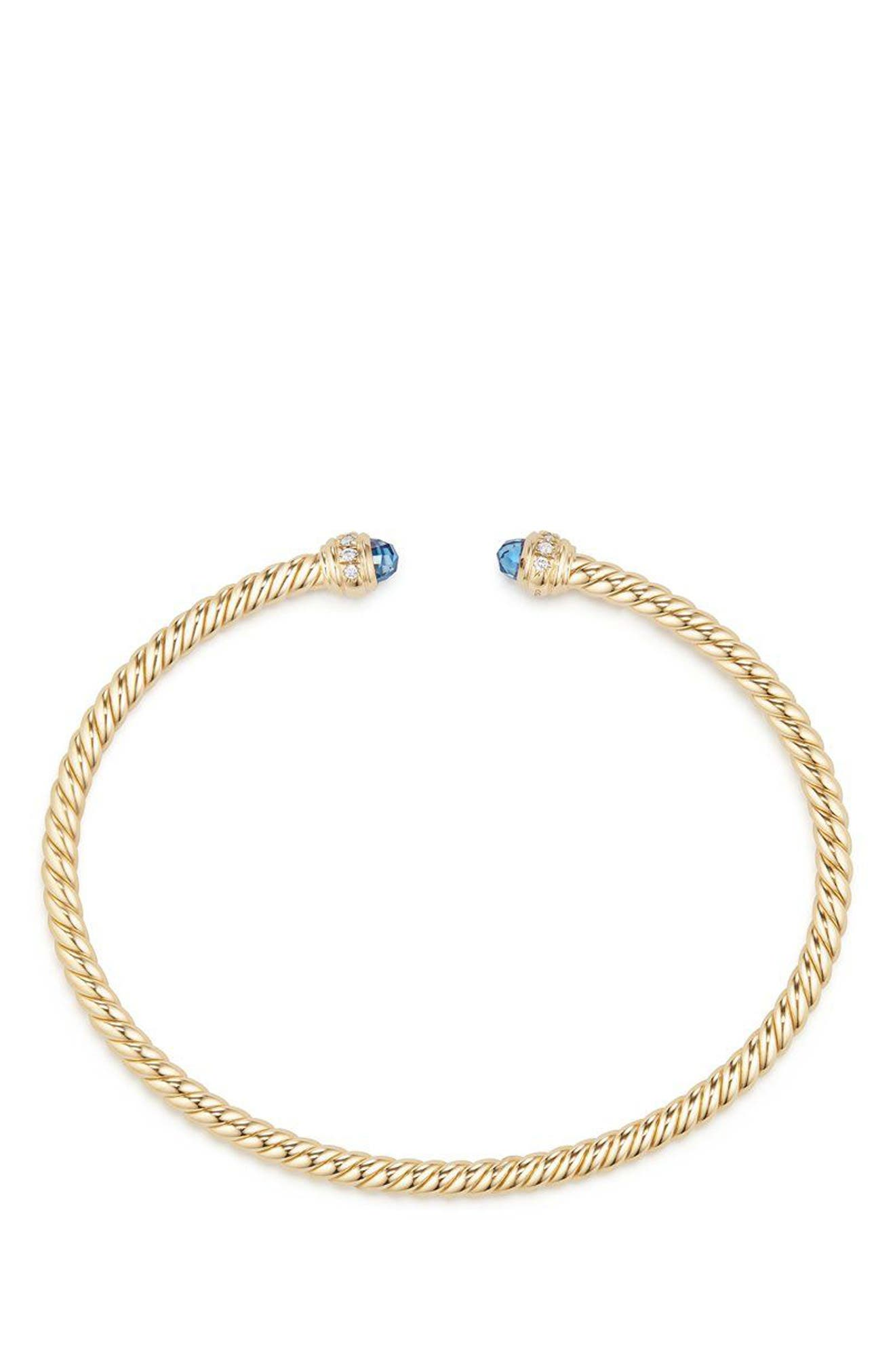 Cable Spira Bracelet in 18K Gold with Diamonds, 3mm,                             Alternate thumbnail 2, color,                             Gold/ Diamond/ Blue Topaz