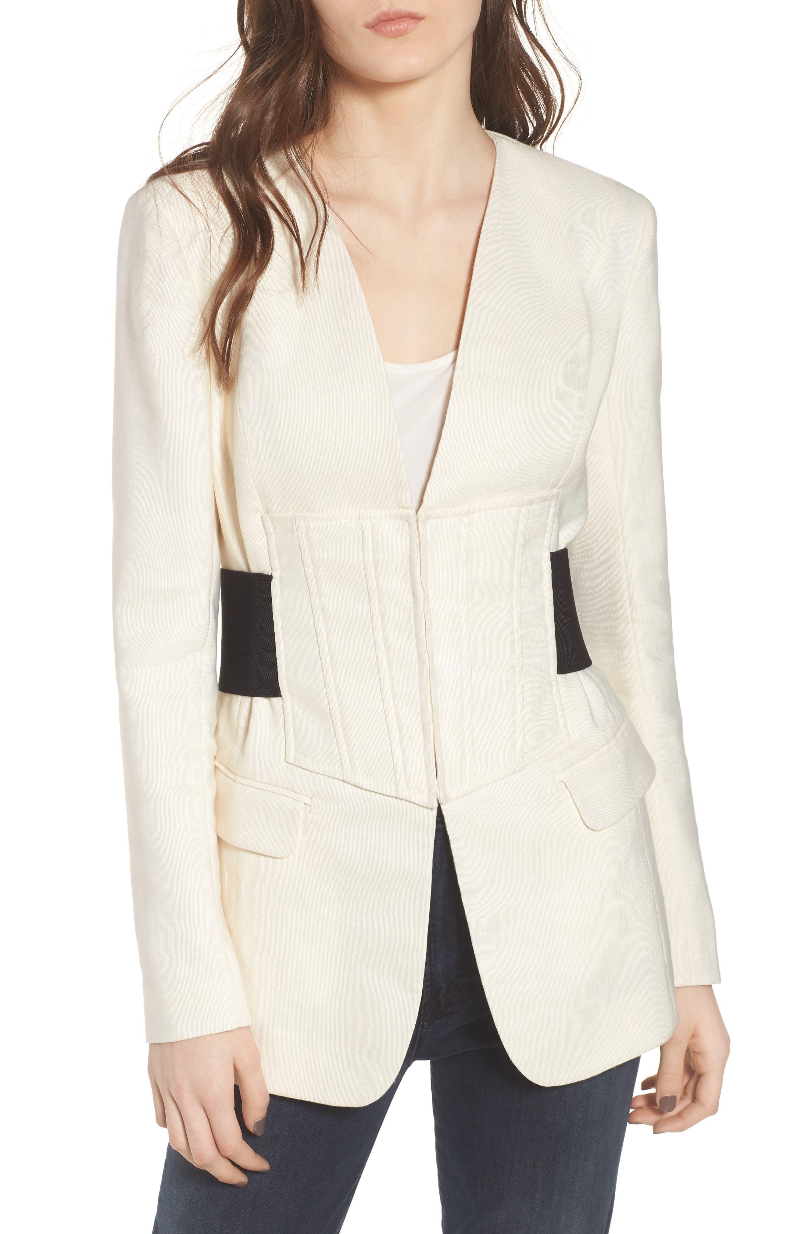 Corset Linen Blend Blazer,                             Main thumbnail 1, color,                             Ivory