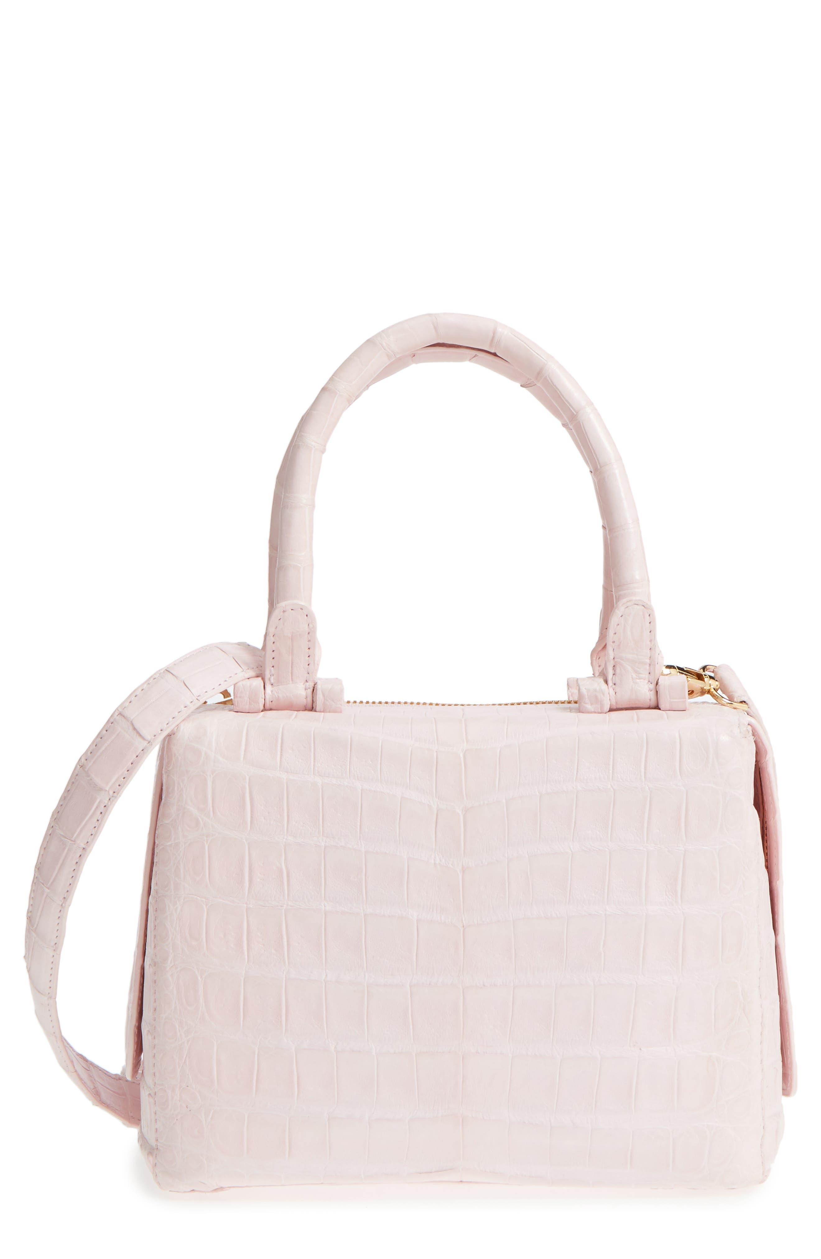 Small Cube Genuine Crocodile Crossbody Bag,                         Main,                         color, Pink