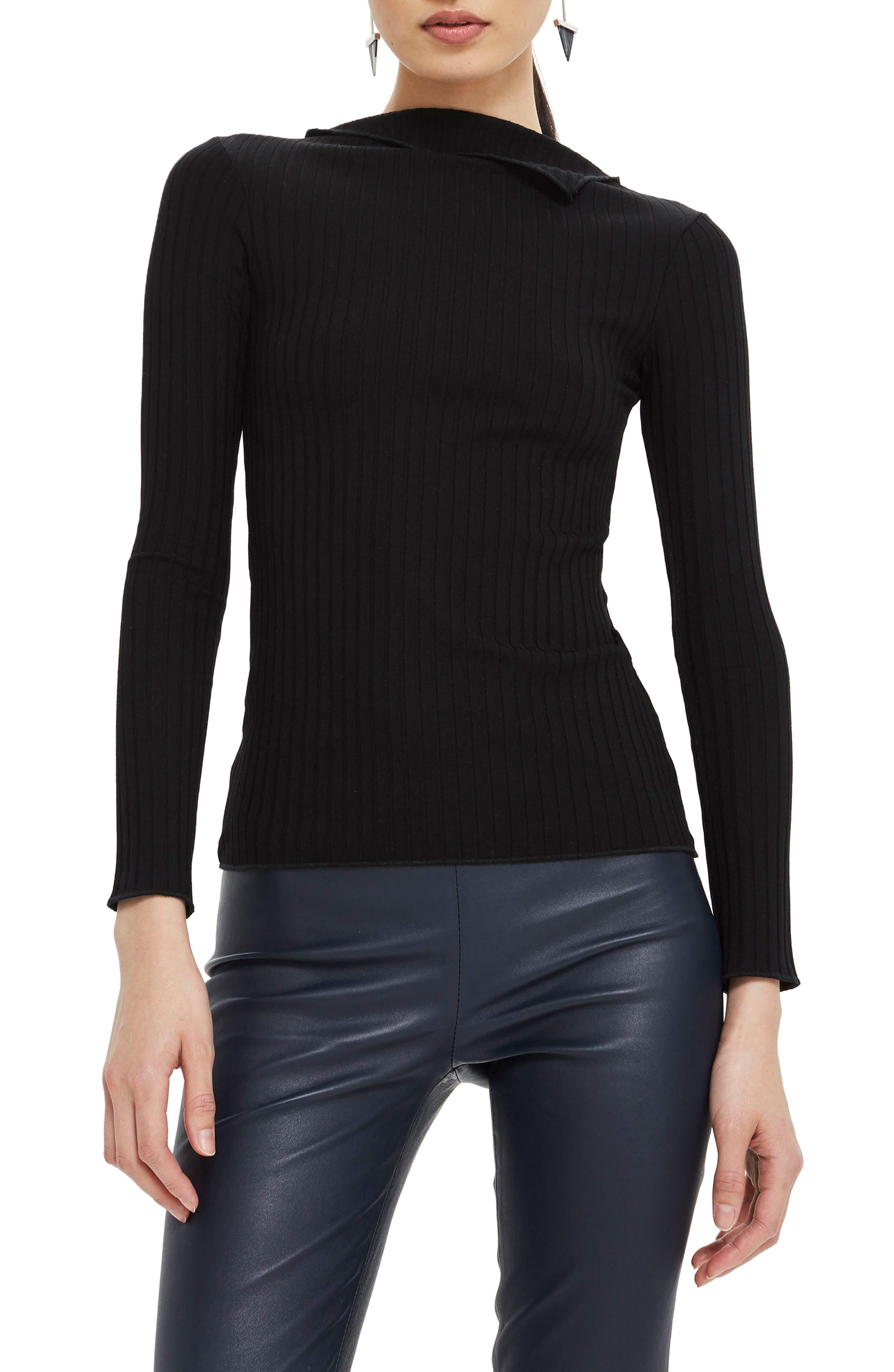 Fold Neck Rib Shirt,                         Main,                         color, Black