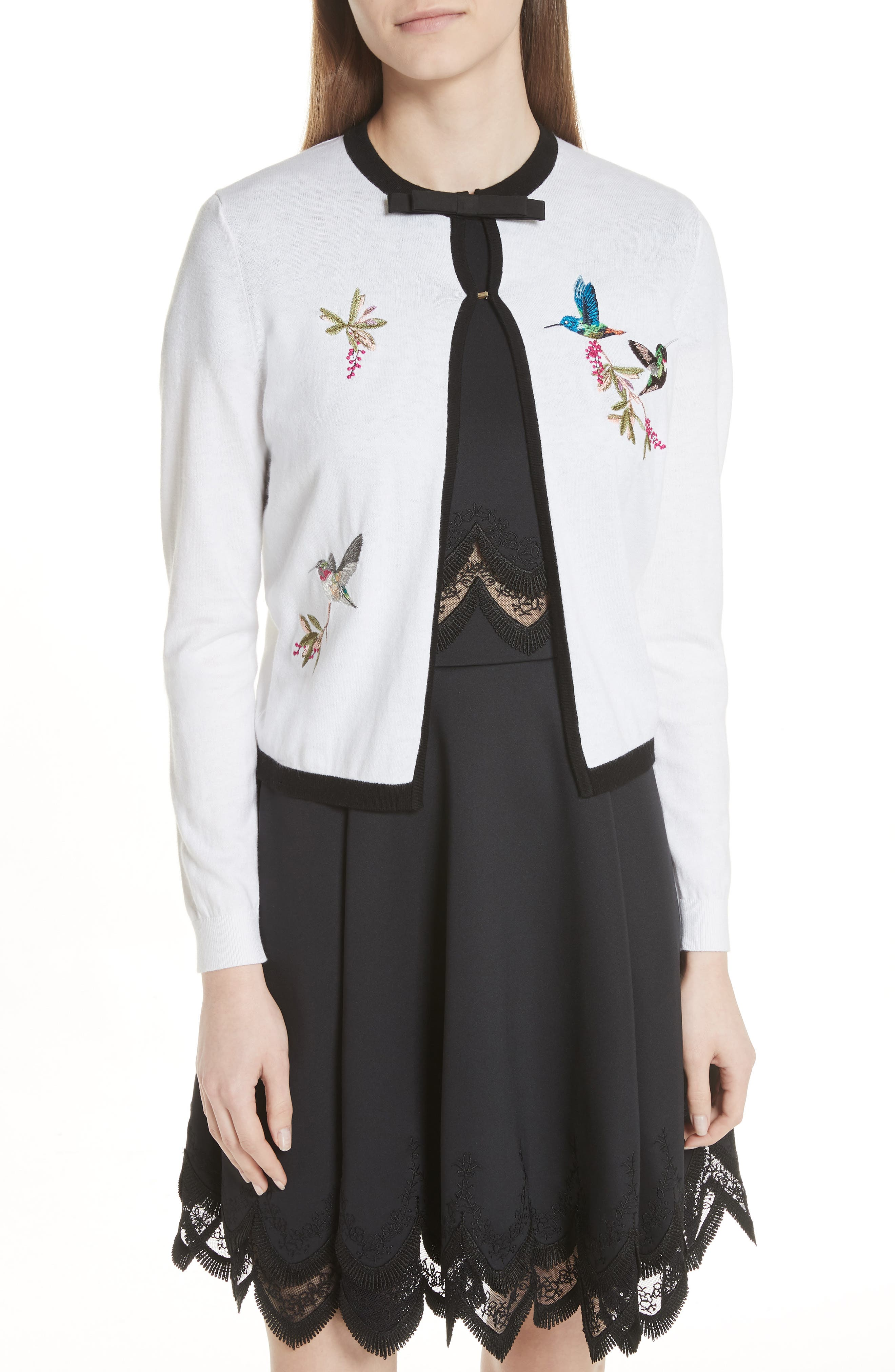 High Grove Embroidered Cardigan,                             Main thumbnail 1, color,                             White
