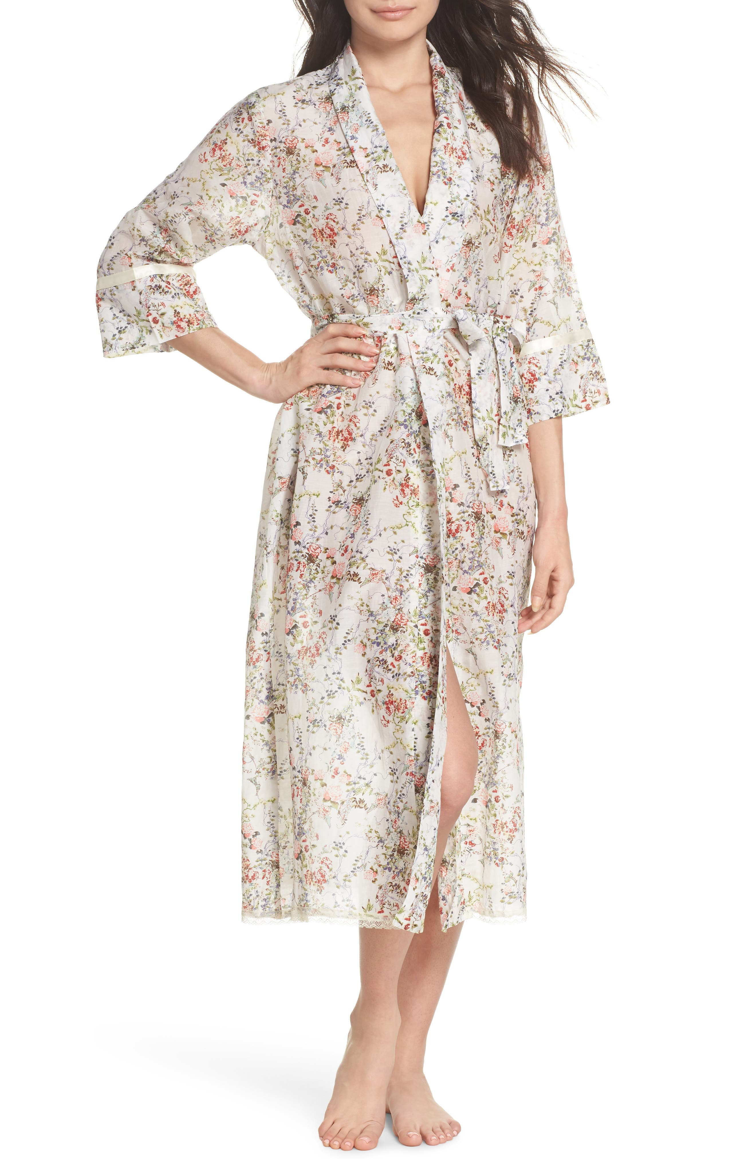Yolly Floral Cotton & Silk Robe,                             Main thumbnail 1, color,                             Ivory Floral