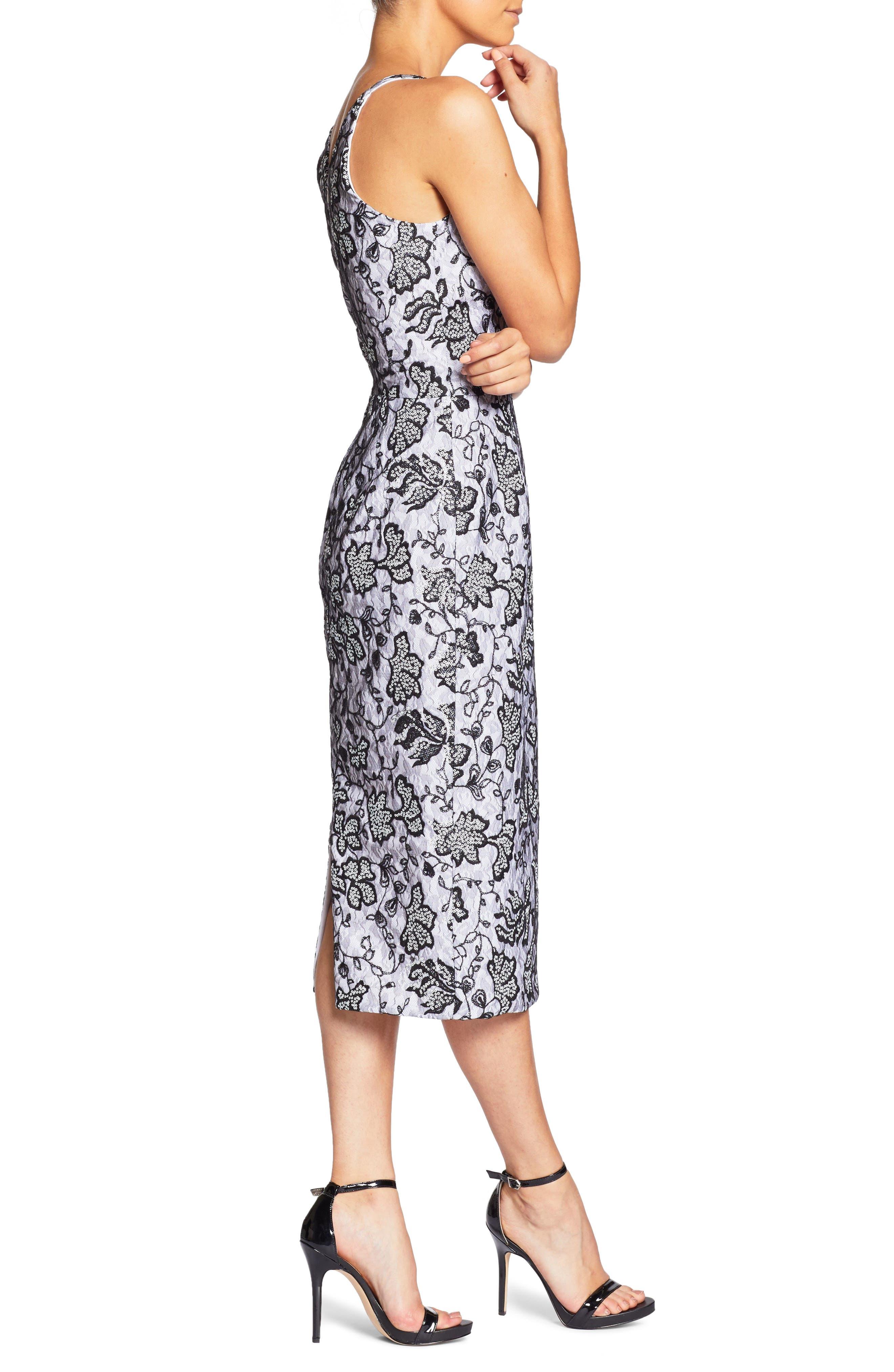 Nadia Plunge V-Neck Lace Dress,                             Alternate thumbnail 3, color,                             White/ Black