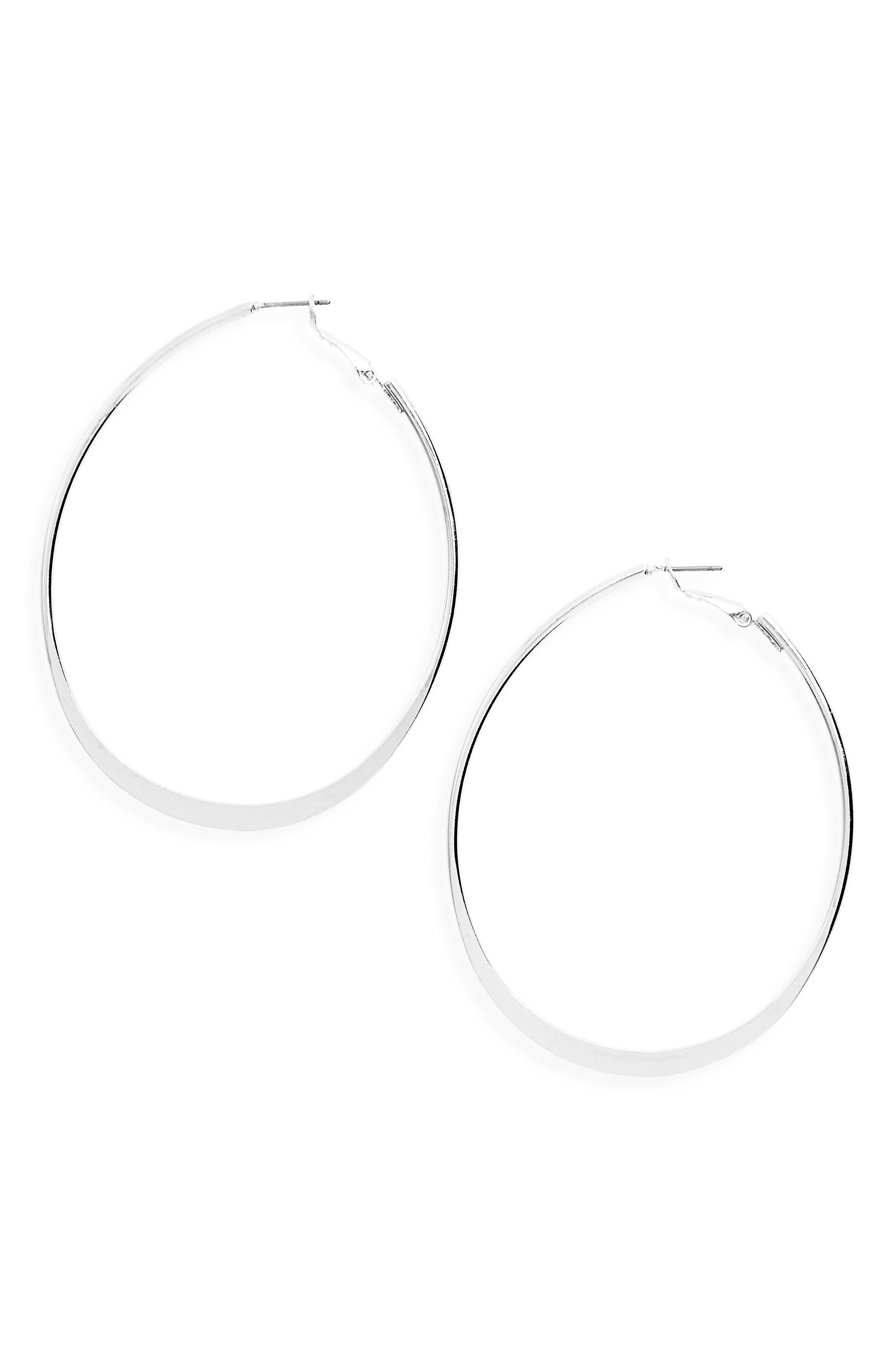 Oval Hoop Earrings,                         Main,                         color, Silver