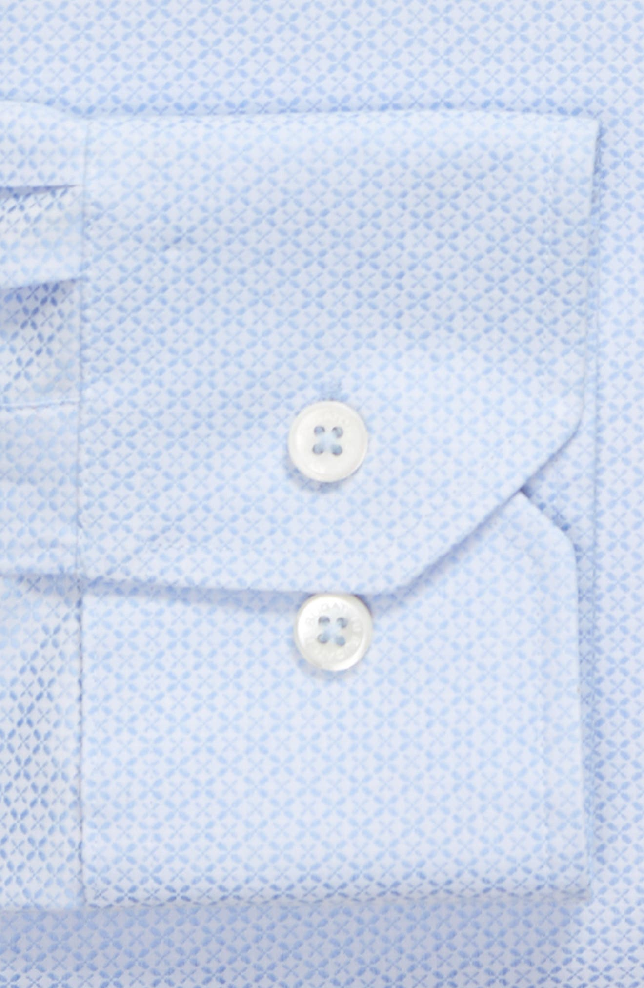 Shaped Fit Textured Dress Shirt,                             Alternate thumbnail 5, color,                             Sky