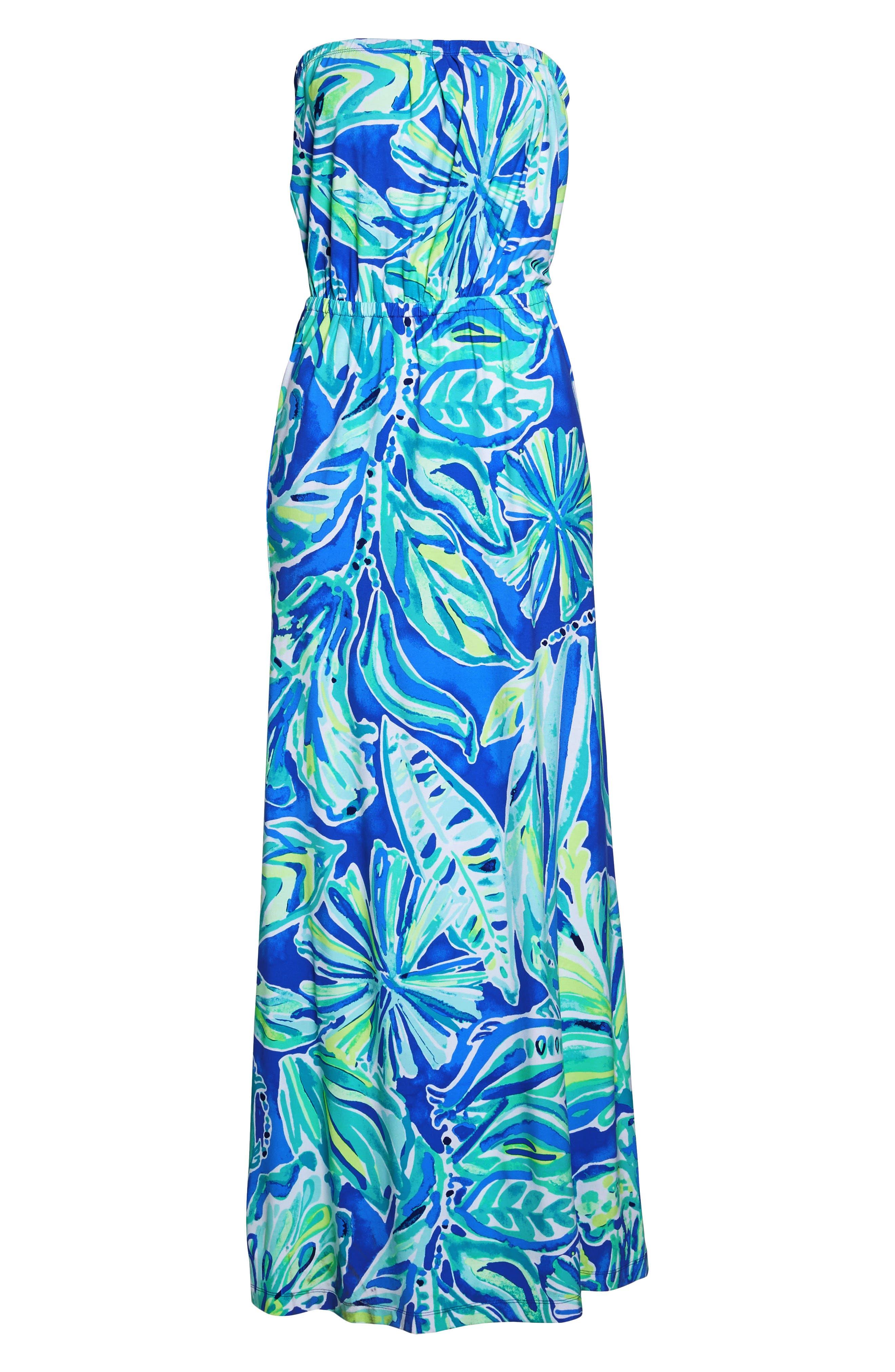 Marlisa Strapless Maxi Dress,                             Alternate thumbnail 6, color,                             Beckon Blue Palm Passage