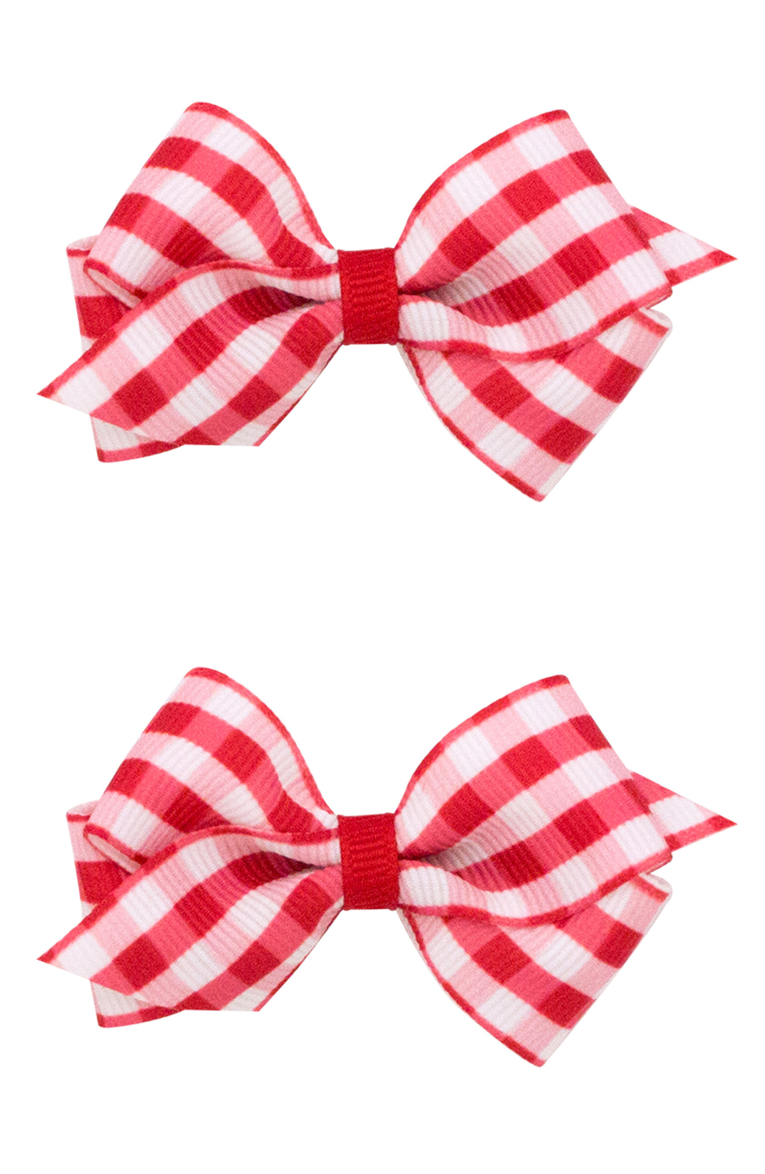 2-Pack Gingham Bow Clips,                             Main thumbnail 1, color,                             Red