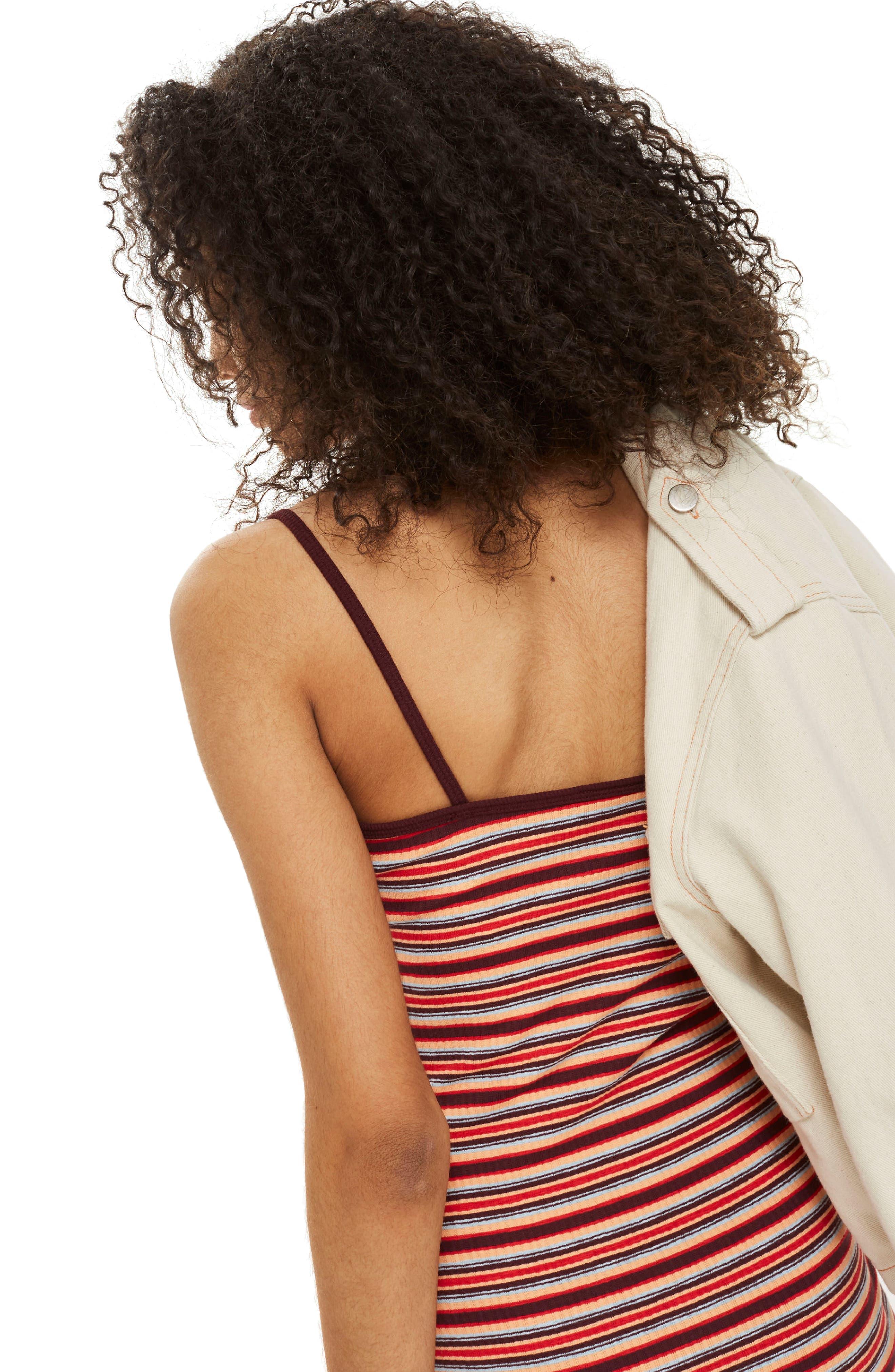 Stripe Body-Con Minidress,                             Alternate thumbnail 2, color,                             Red Multi