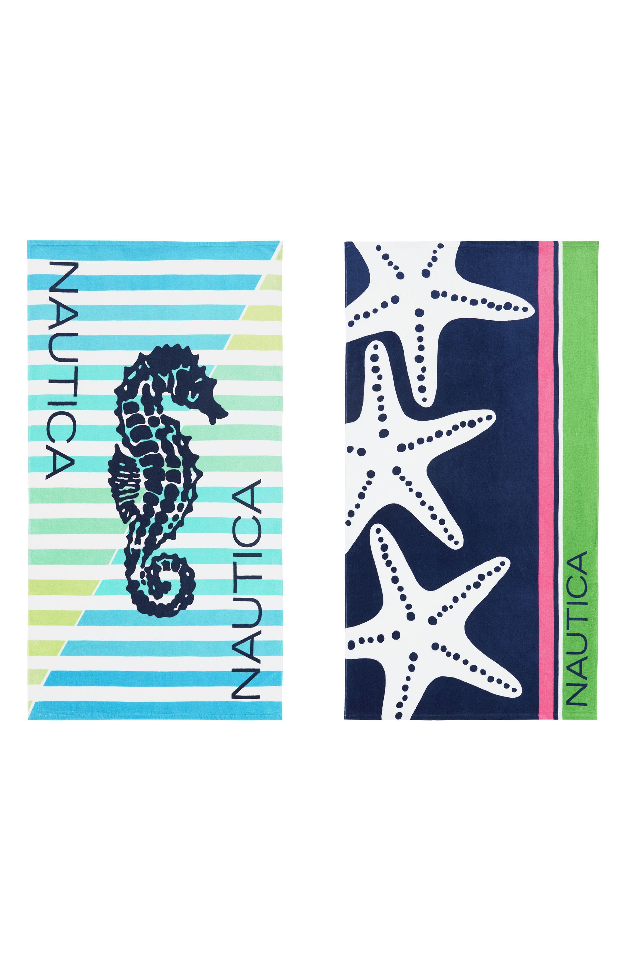 Seahorse Stripe Set of 2 Beach Towels,                         Main,                         color, Blue Multi