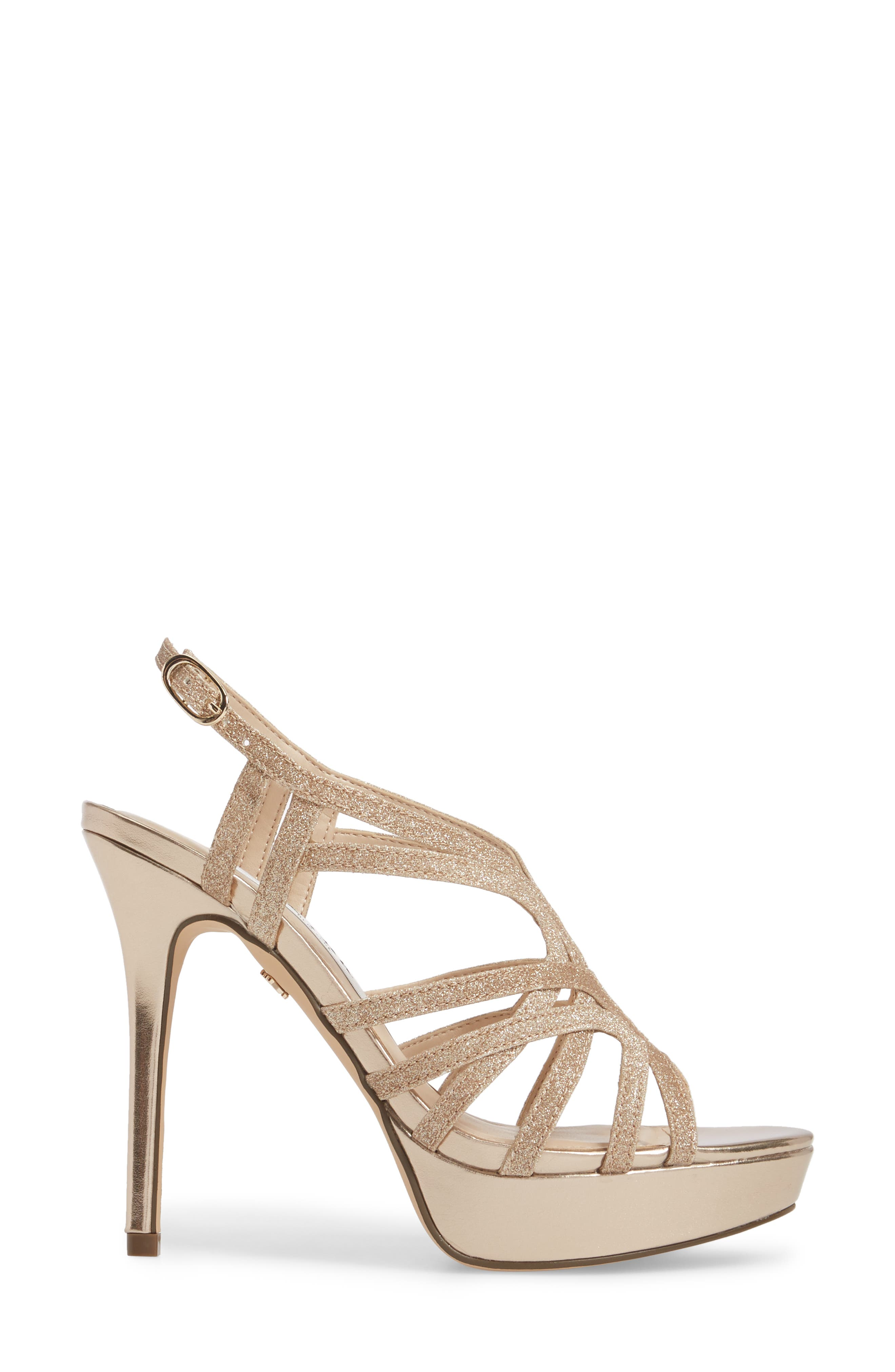 Solina Platform Sandal,                             Alternate thumbnail 3, color,                             Gold Glitter Fabric