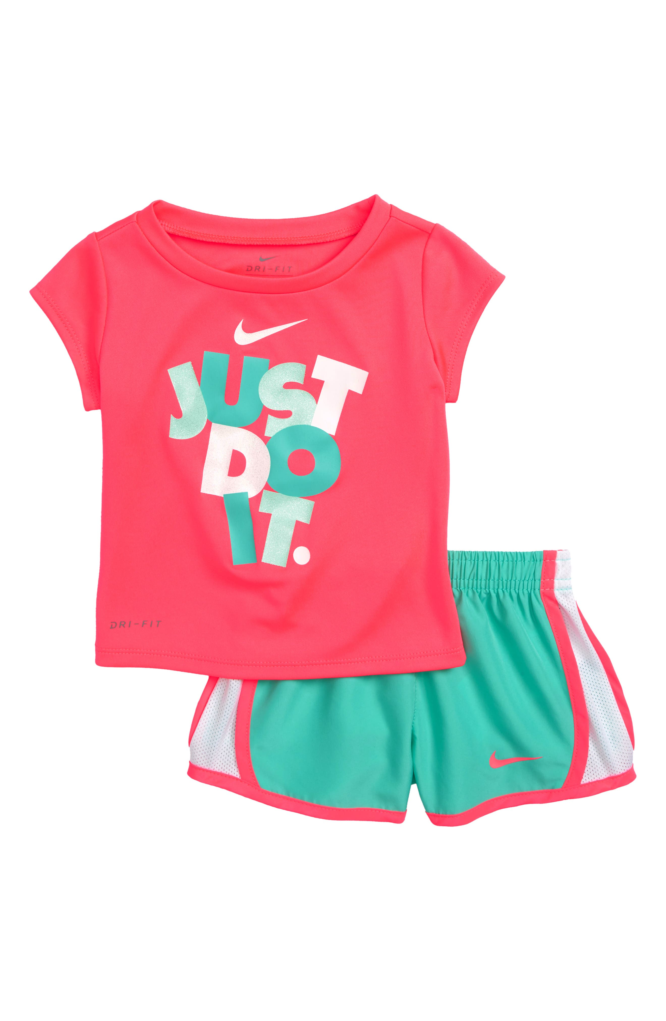 Dry Just Do It Tee & Shorts Set,                         Main,                         color, Light Menta