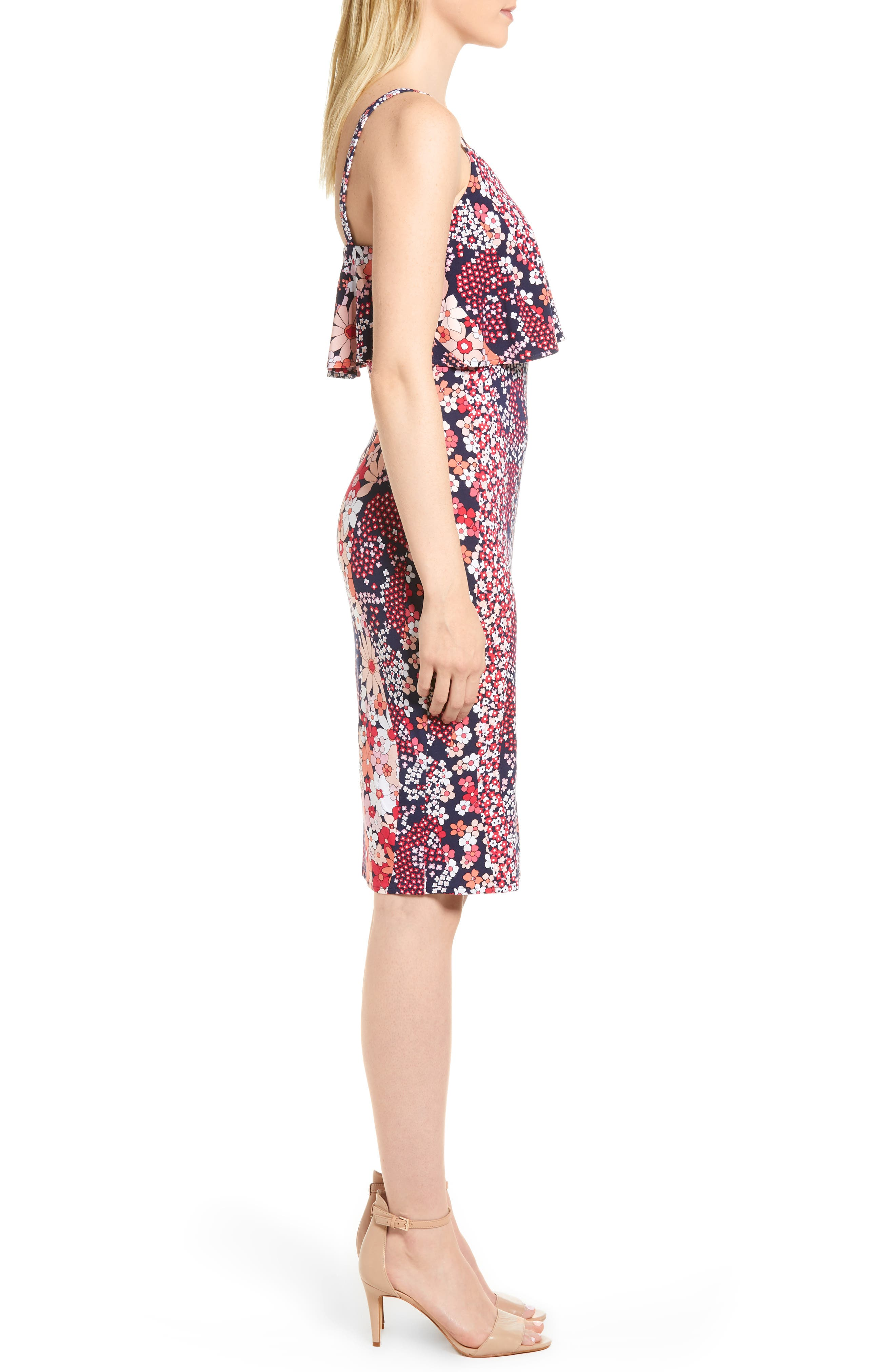 Print Floral Dress,                             Alternate thumbnail 3, color,                             True Navy/ Bright Blush