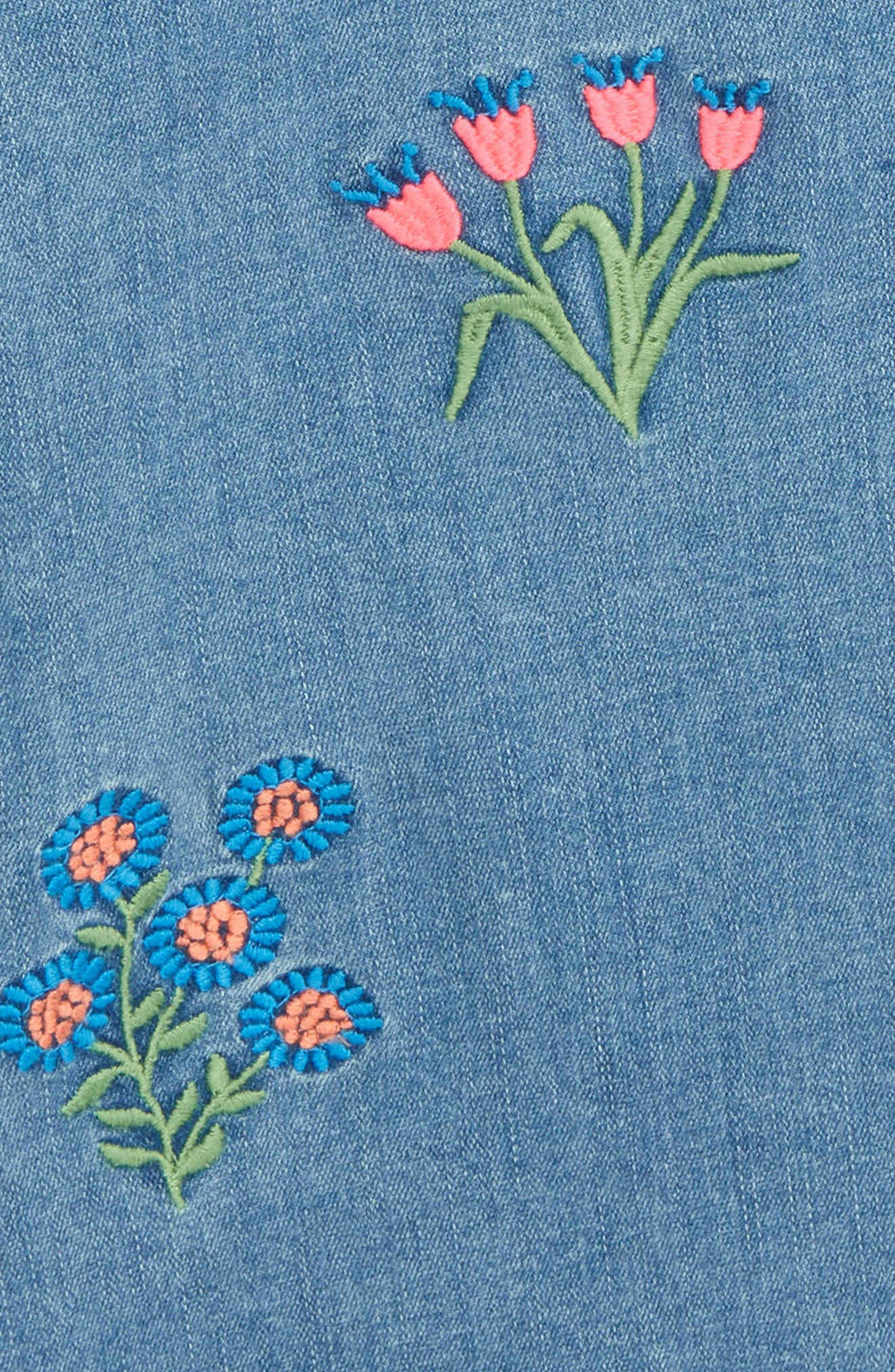 Embroidered Denim Dress,                             Alternate thumbnail 3, color,                             Field Wash