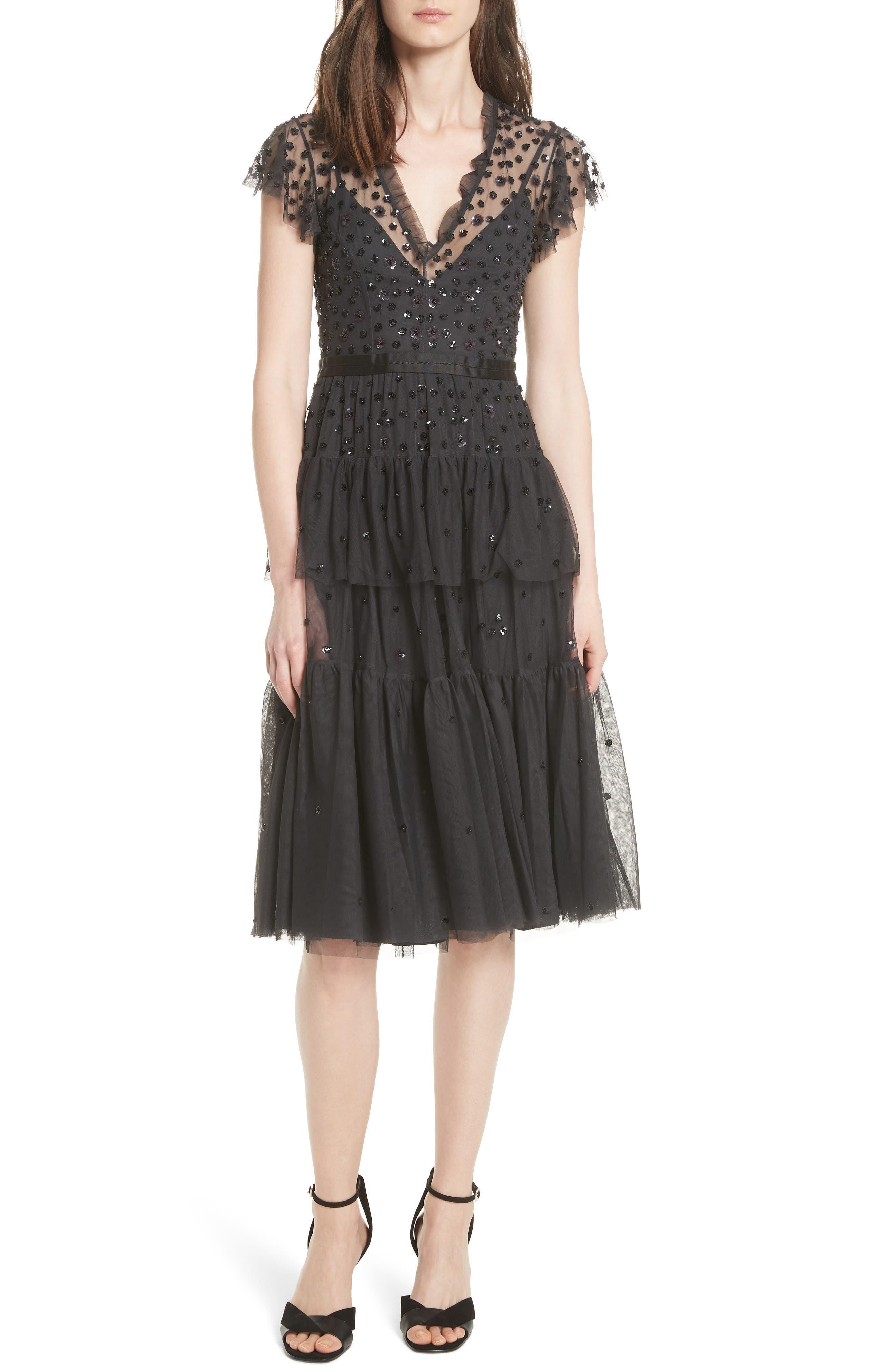 Mirage Sequin Dress,                             Main thumbnail 1, color,                             Graphite