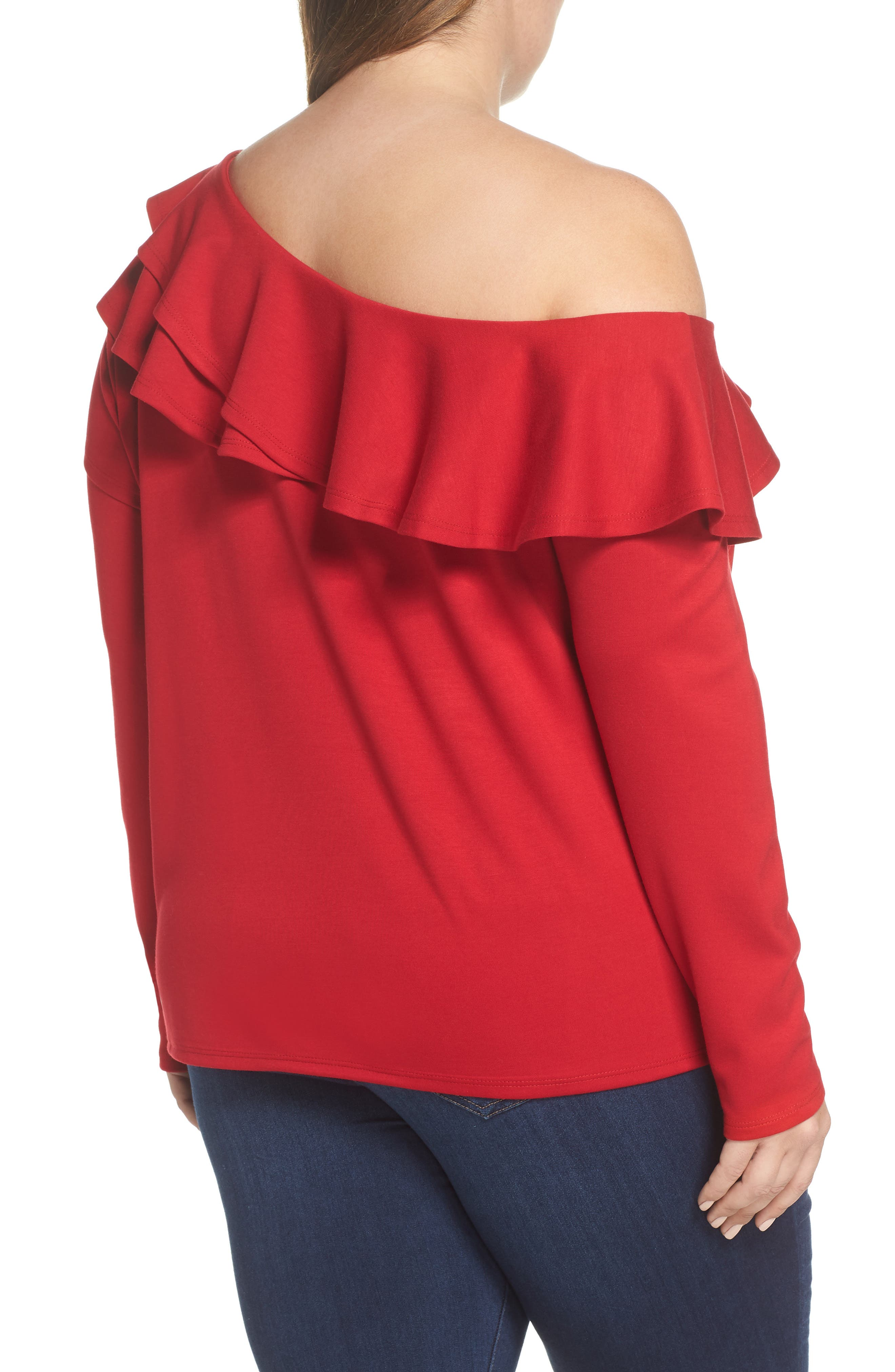 x Living in Yellow Elizabeth One-Shoulder Ruffle Top,                             Alternate thumbnail 6, color,                             Red