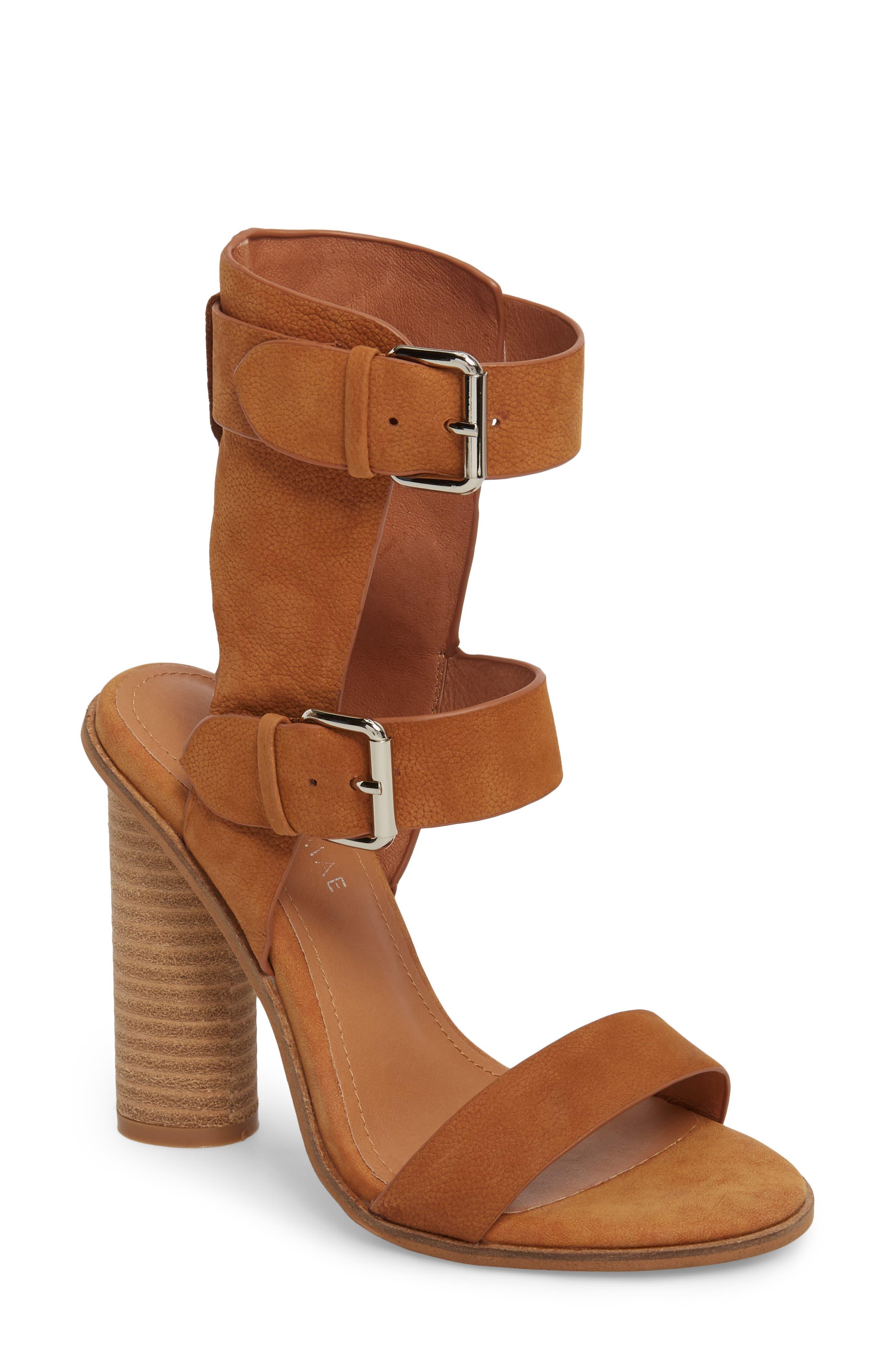 Abeba Block Heel Sandal,                         Main,                         color, Tan Leather