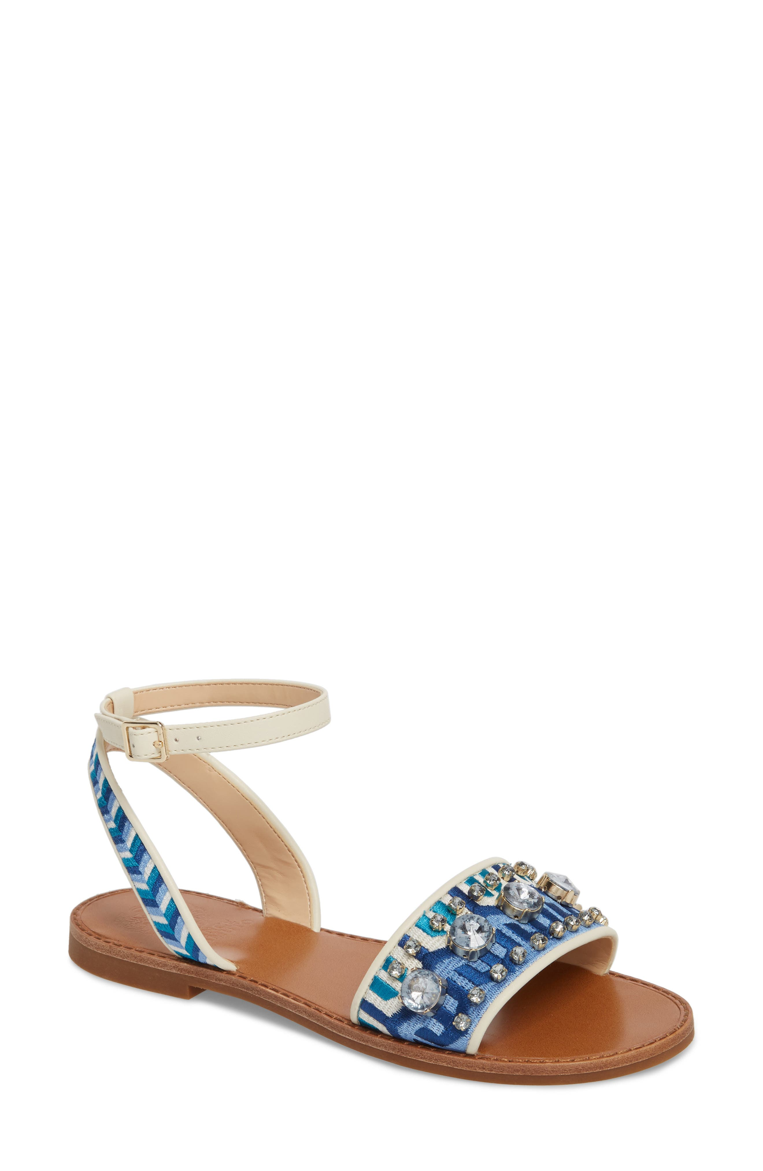 Akitta Sandal,                             Main thumbnail 1, color,                             Blue Multi/ Vanilla Fabric