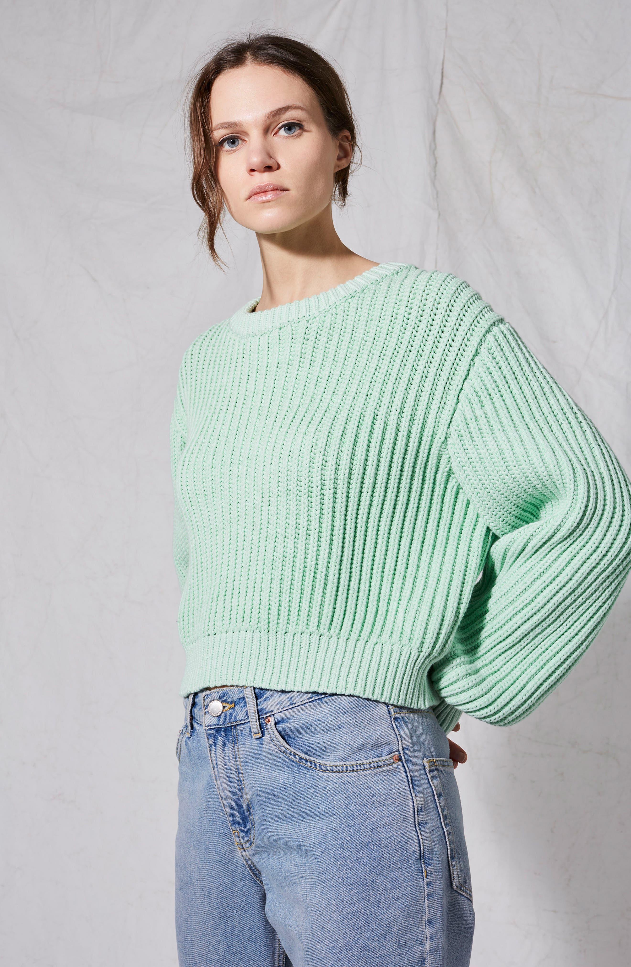 Fisherman Crewneck Sweater,                             Alternate thumbnail 3, color,                             Light Green