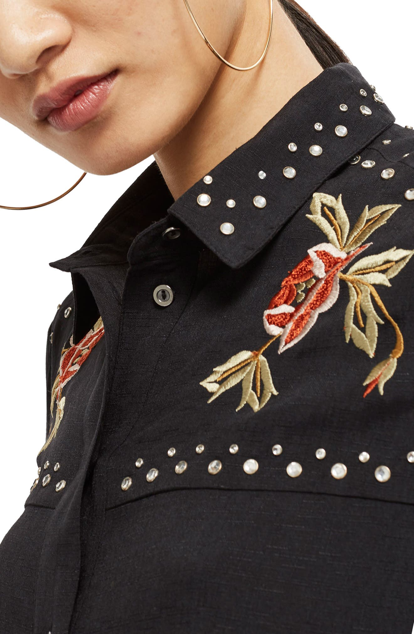 Rodeo Stud Embroidered Shirt,                             Alternate thumbnail 2, color,                             Black Multi