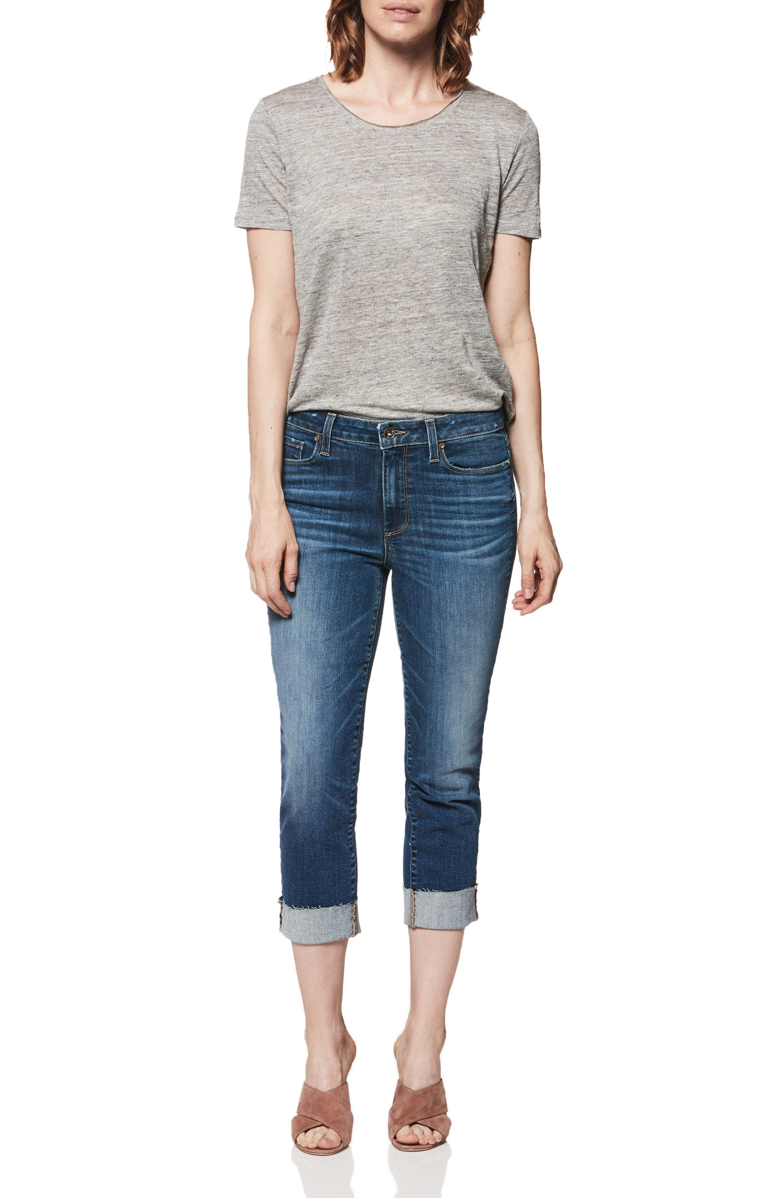 Transcend Vintage - Hoxton Cuff Ankle Skinny Jeans,                             Alternate thumbnail 3, color,                             Pico