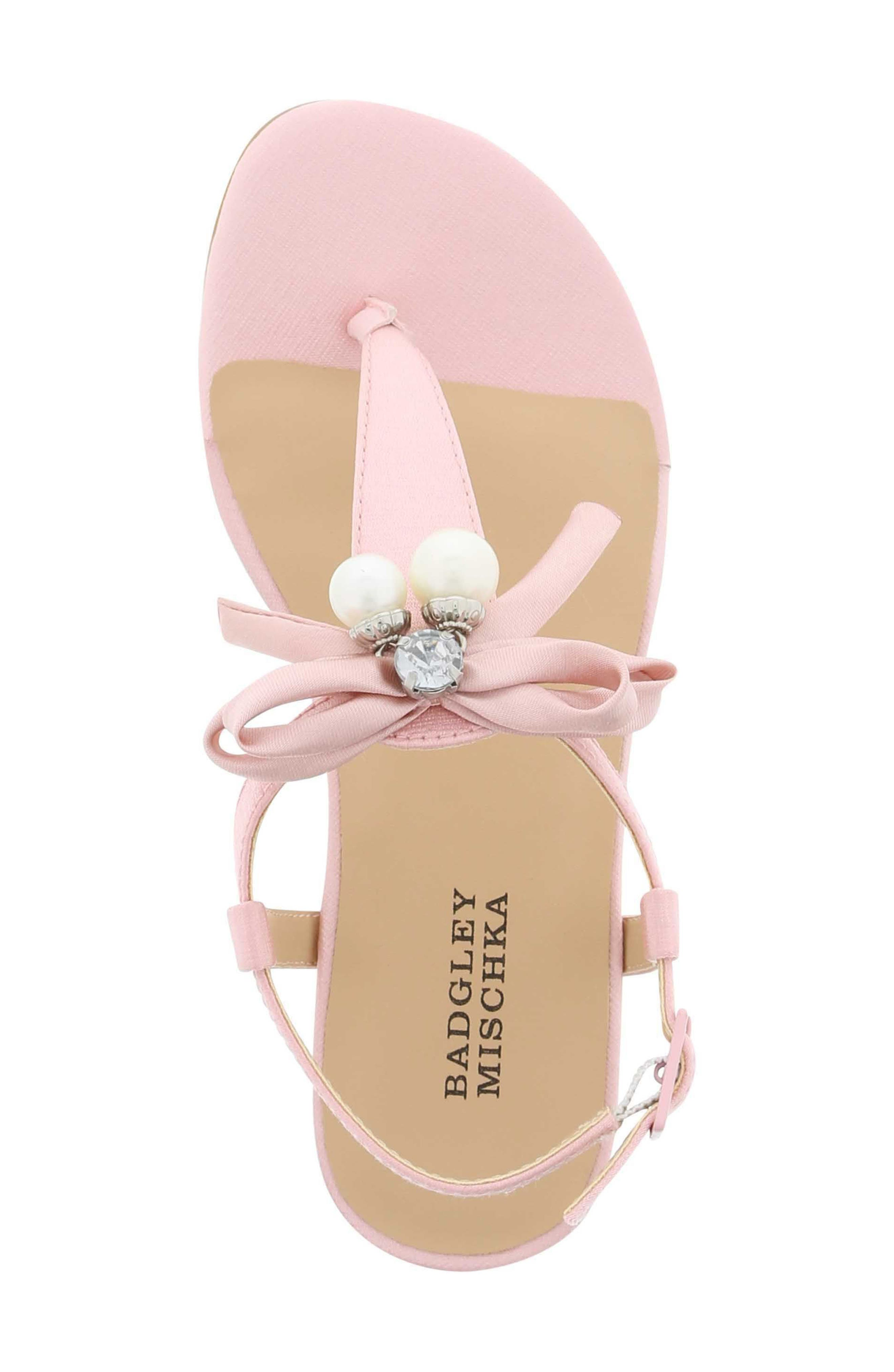 Talia Embellished Bow Sandal,                             Alternate thumbnail 5, color,                             Light Pink