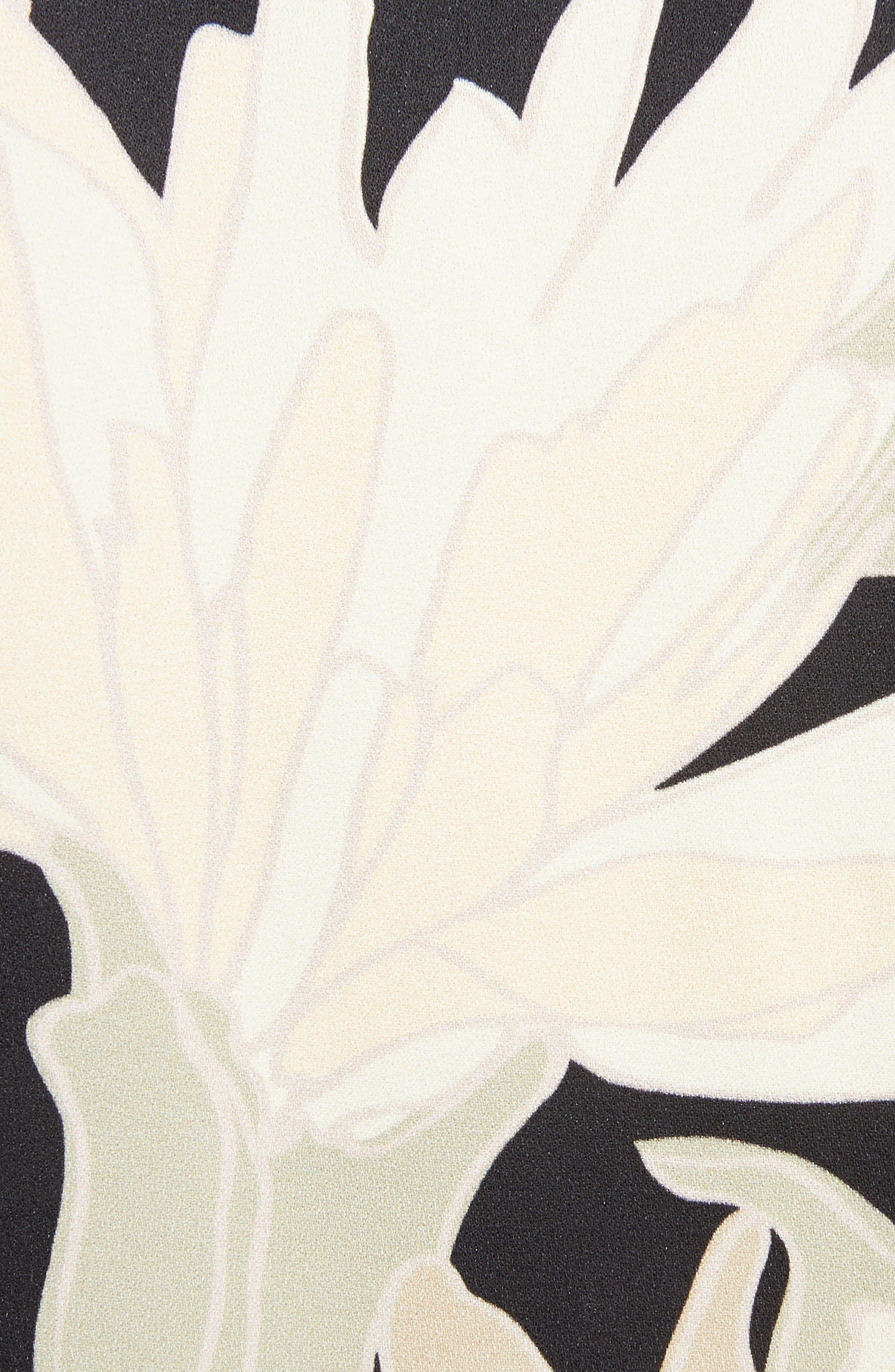 Knit Trim Floral Dress,                             Alternate thumbnail 5, color,                             Black