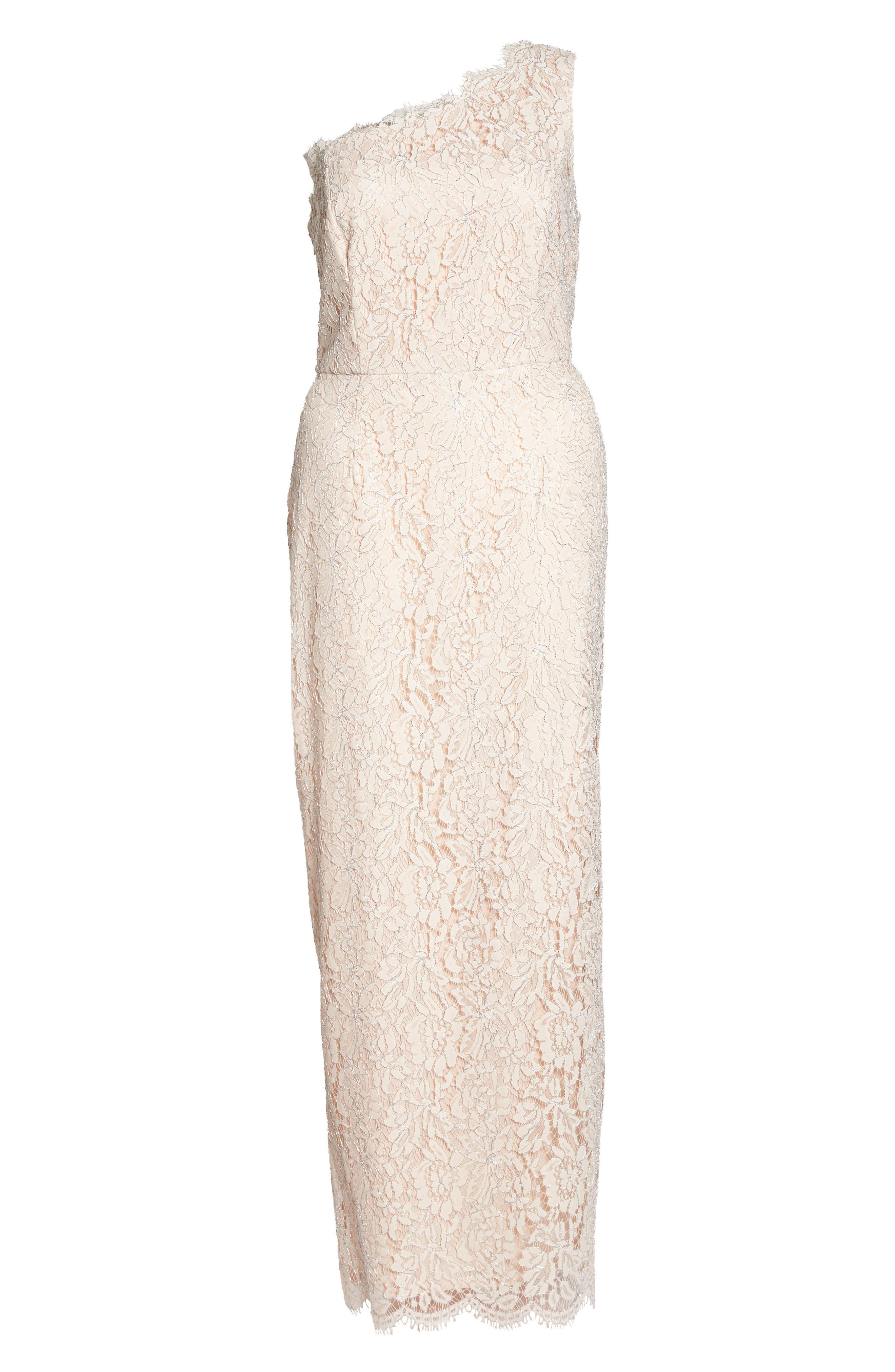 One-Shoulder Metallic Lace Gown,                             Alternate thumbnail 6, color,                             Blush