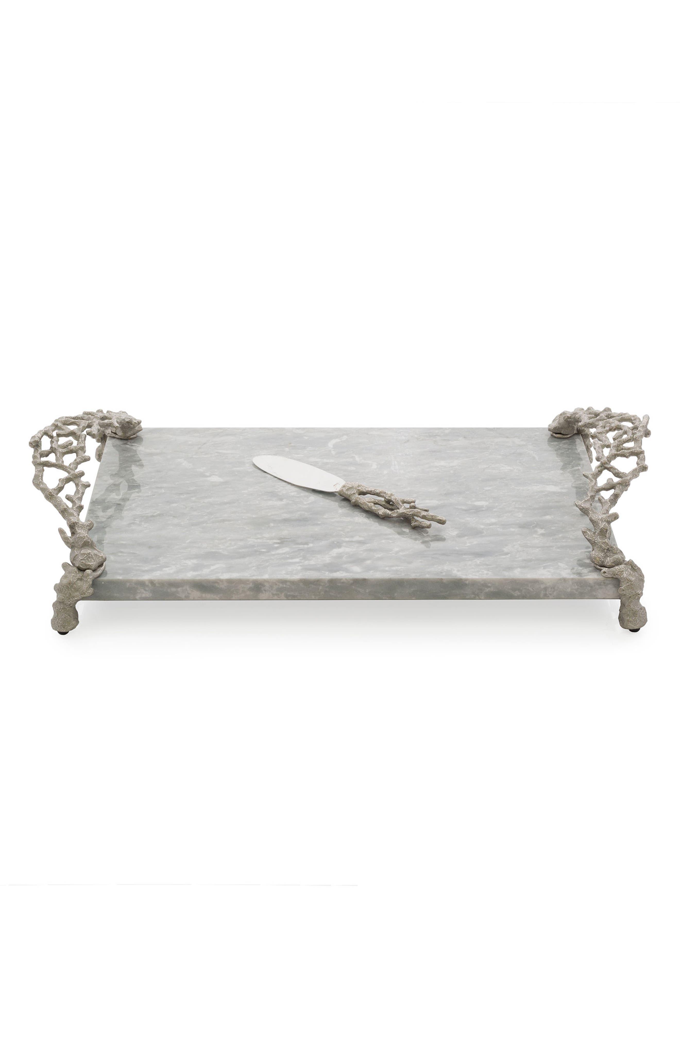 Ocean Reef Cheese Board & Knife Set,                         Main,                         color, Silver
