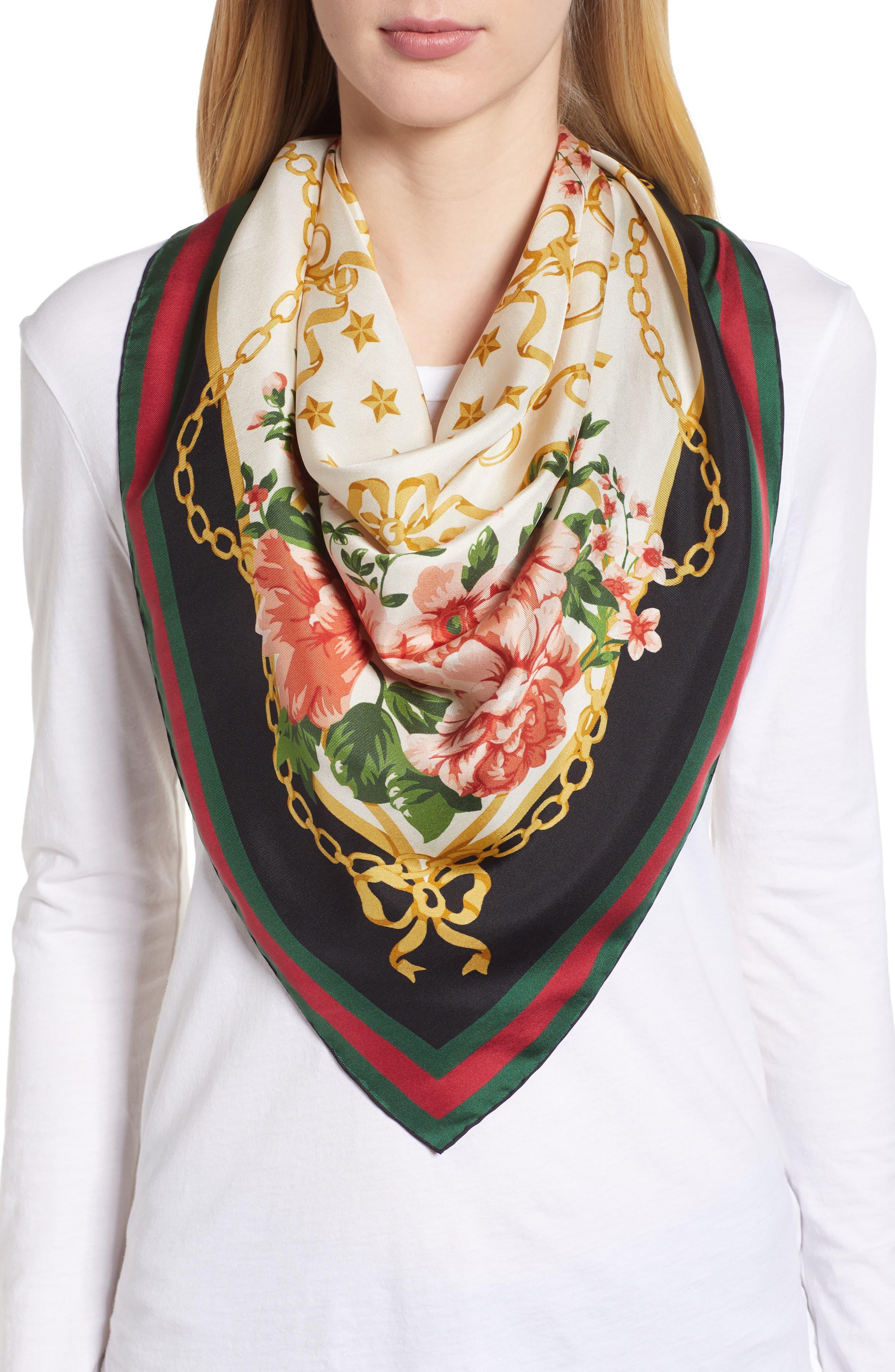 Rose Chain Foulard Silk Twill Scarf,                             Alternate thumbnail 2, color,                             Cream/ Blk