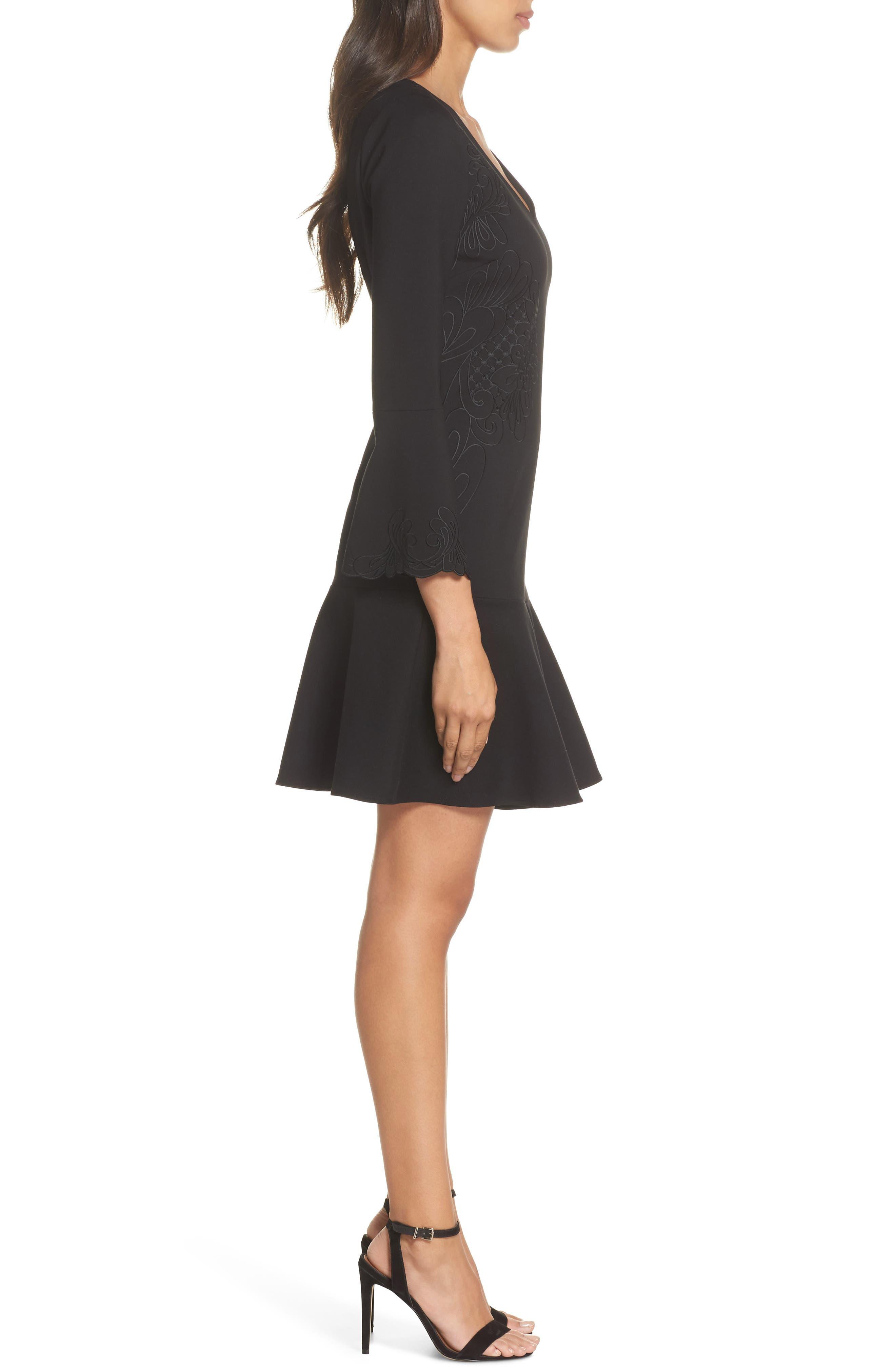 Devyn Embroidered Fit & Flare Dress,                             Alternate thumbnail 3, color,                             Black