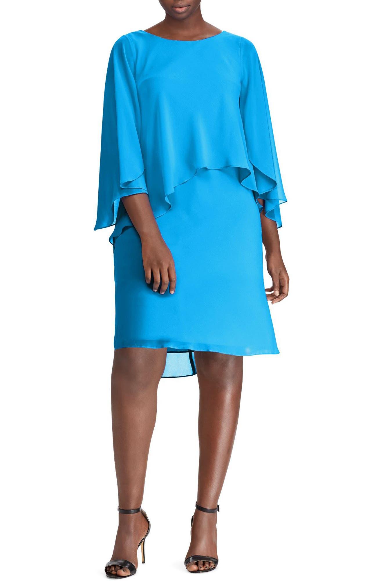 Lauren Ralph Lauren Capelet Shift Dress (Plus Size)