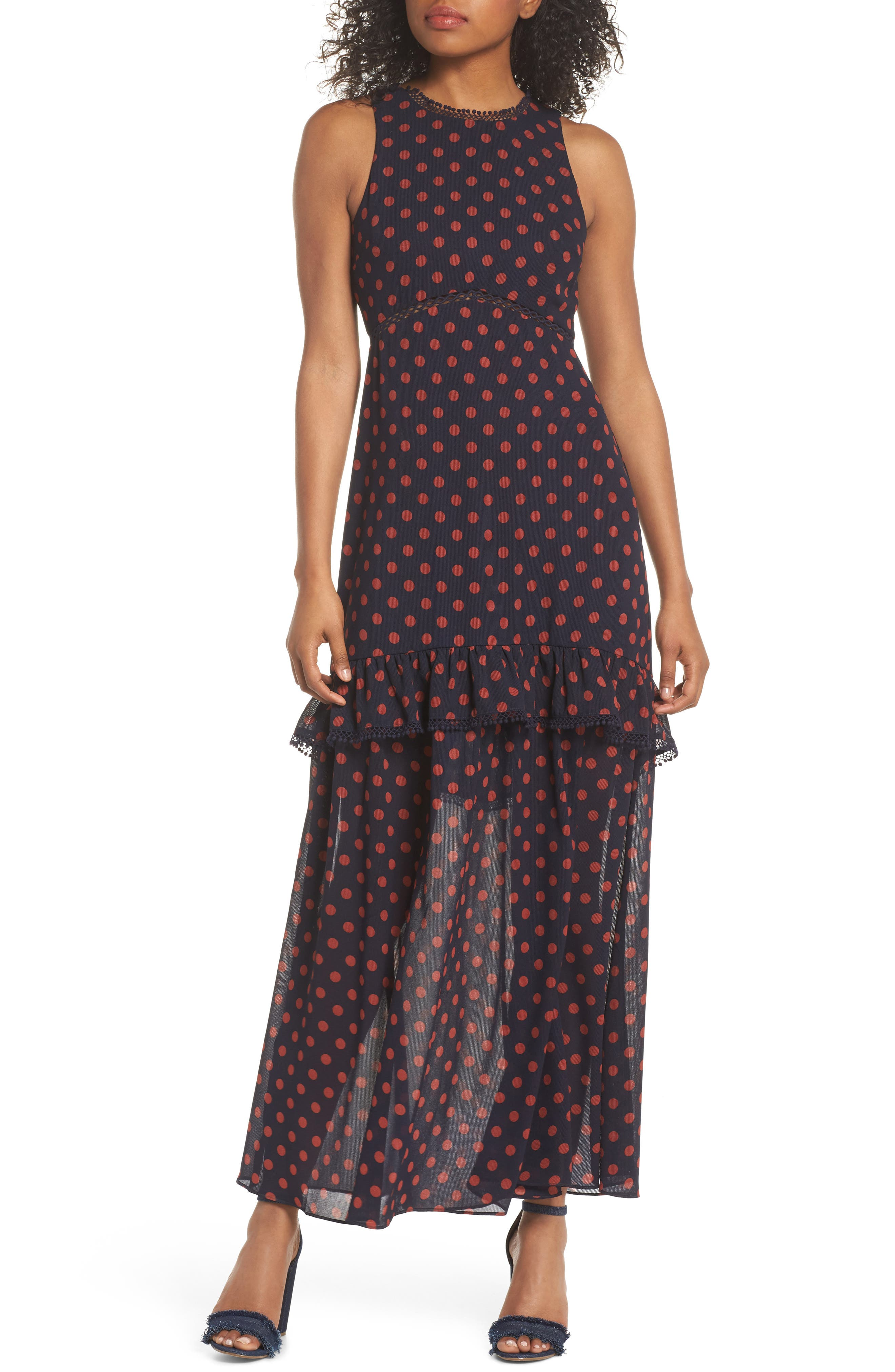 Dot Ruffle Maxi Dress,                             Main thumbnail 1, color,                             Navy/ Rust