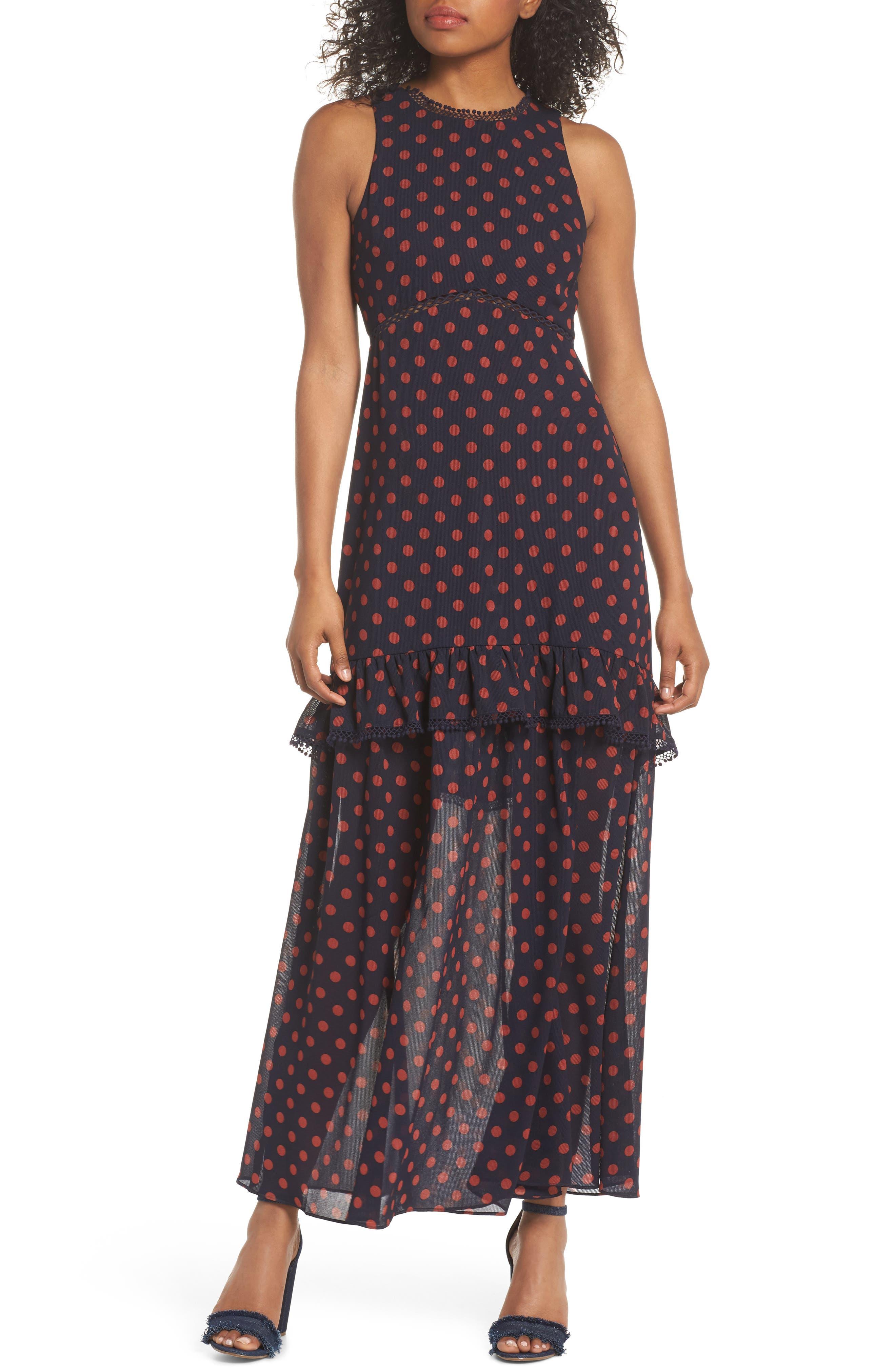 Dot Ruffle Maxi Dress,                         Main,                         color, Navy/ Rust