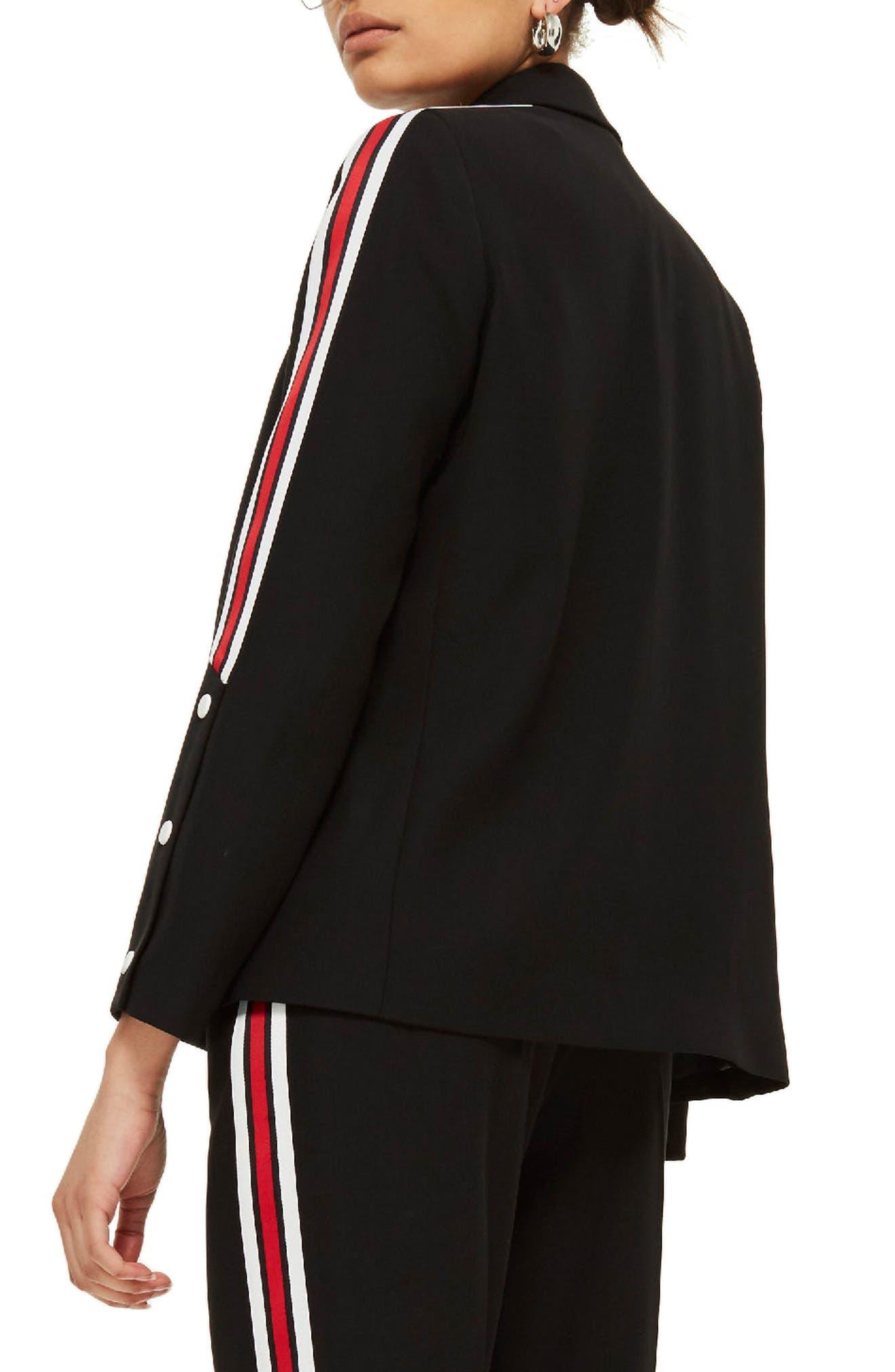 Side Stripe Popper Blazer,                             Alternate thumbnail 3, color,                             Black Multi