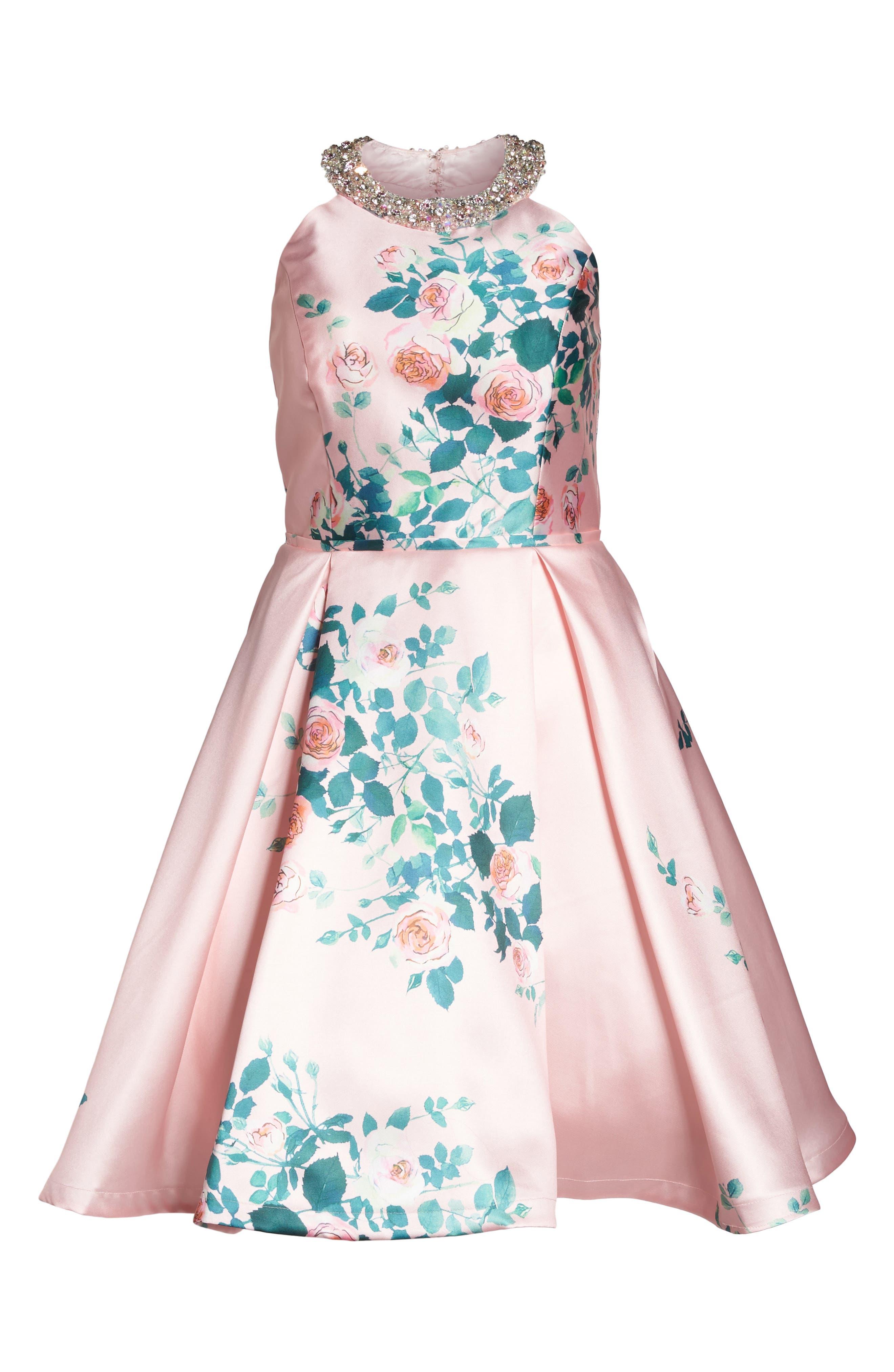 Floral Print Fit & Flare Dress,                             Alternate thumbnail 6, color,                             Pink Rose