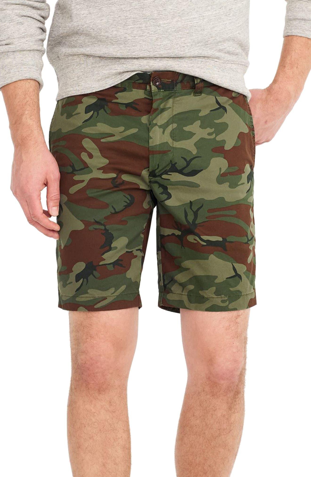 J.Crew Stretch Camo Shorts,                         Main,                         color, Camo Wamo