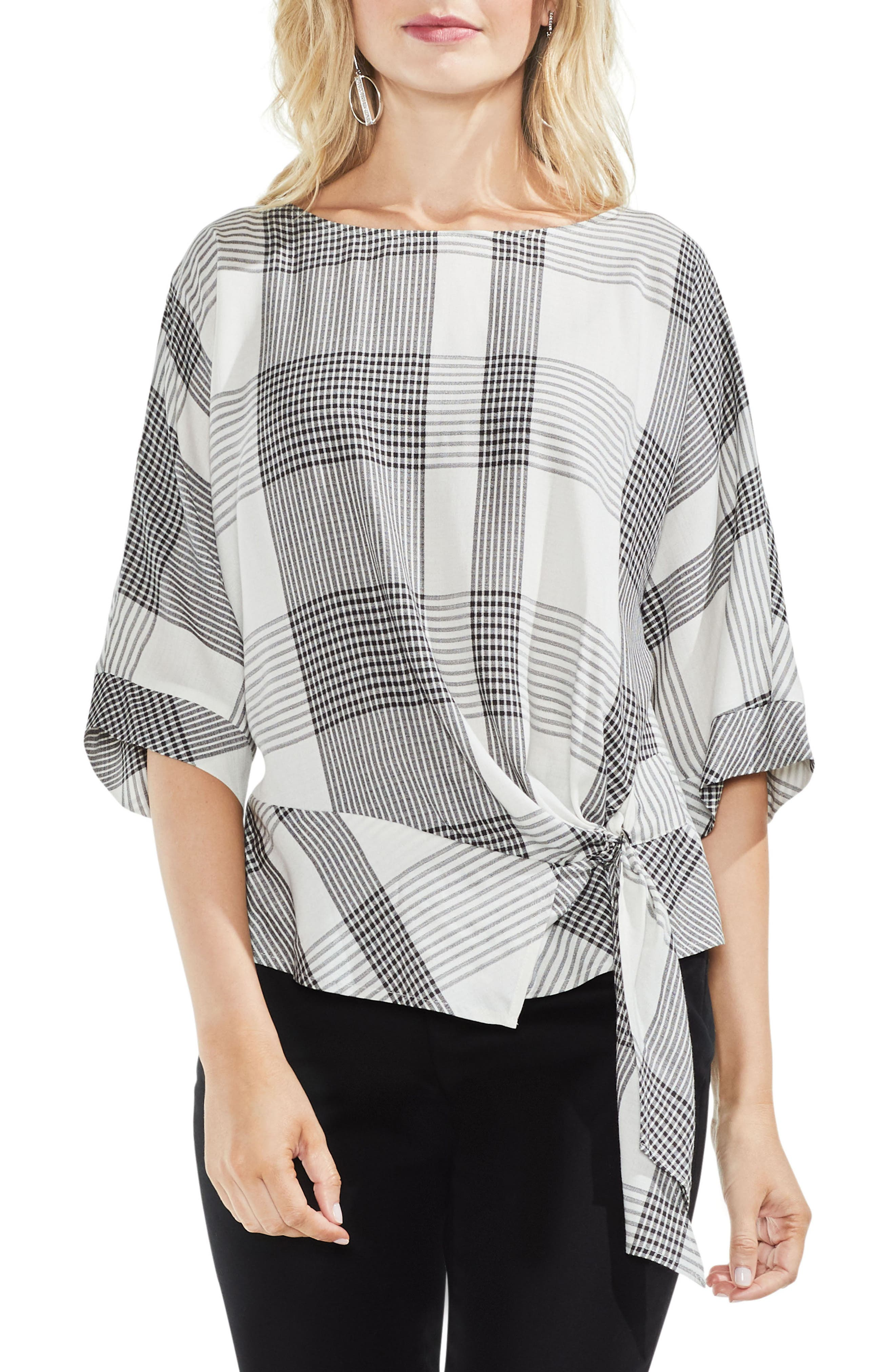 Oversize Plaid Dolman Sleeve Side Tie Top,                         Main,                         color, Rich Black