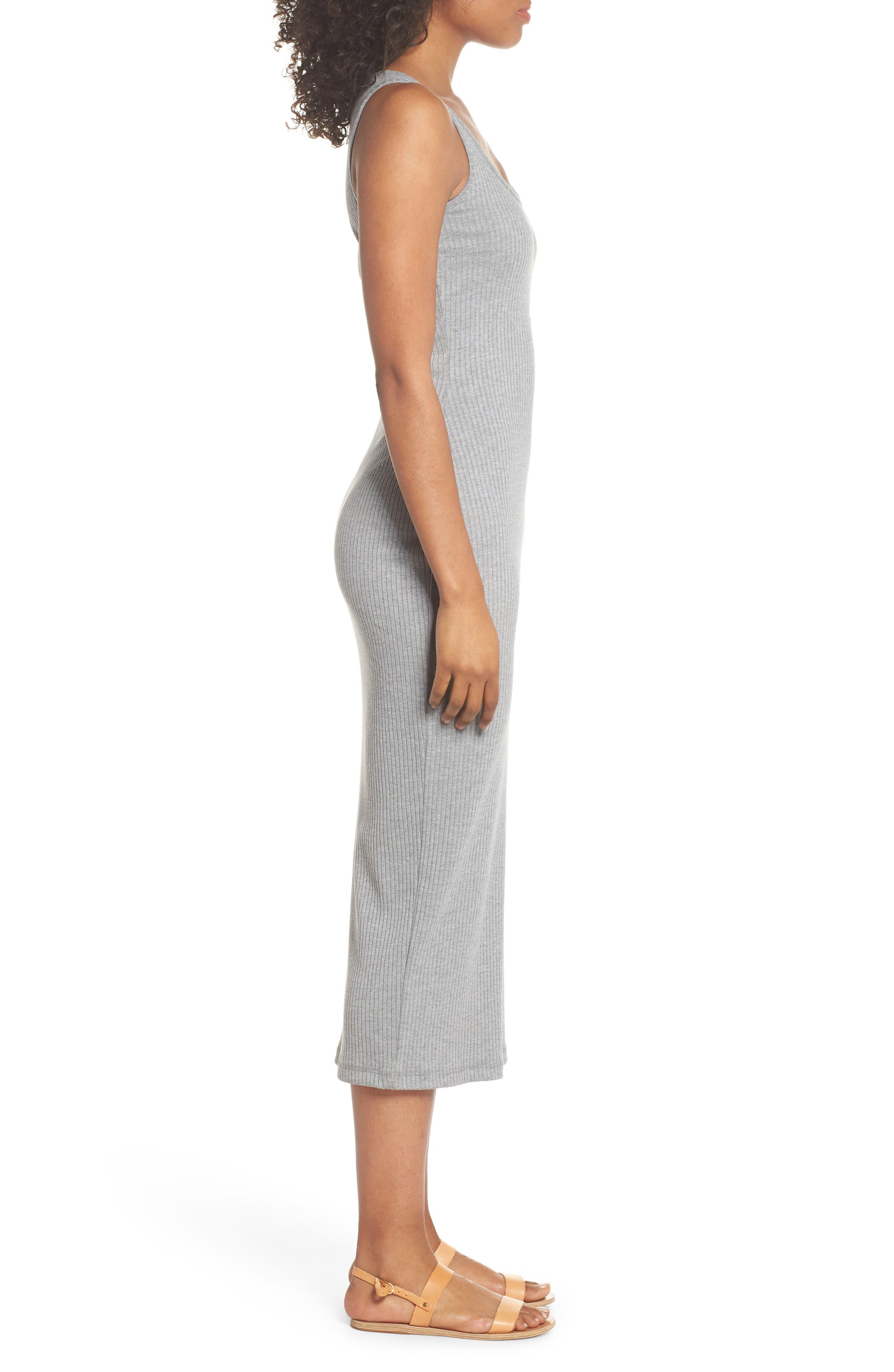 Tommy Rib Knit Tank Dress,                             Alternate thumbnail 3, color,                             Mid Grey Mel