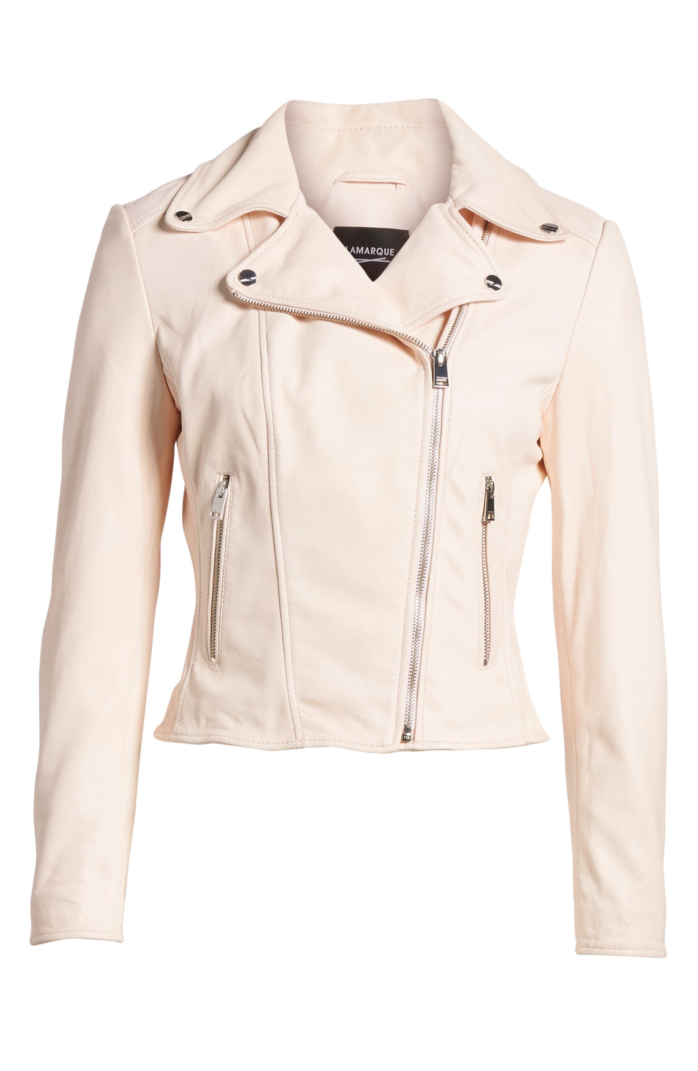 Eco-Friendly Leather Moto Jacket,                             Alternate thumbnail 7, color,                             Light Pink