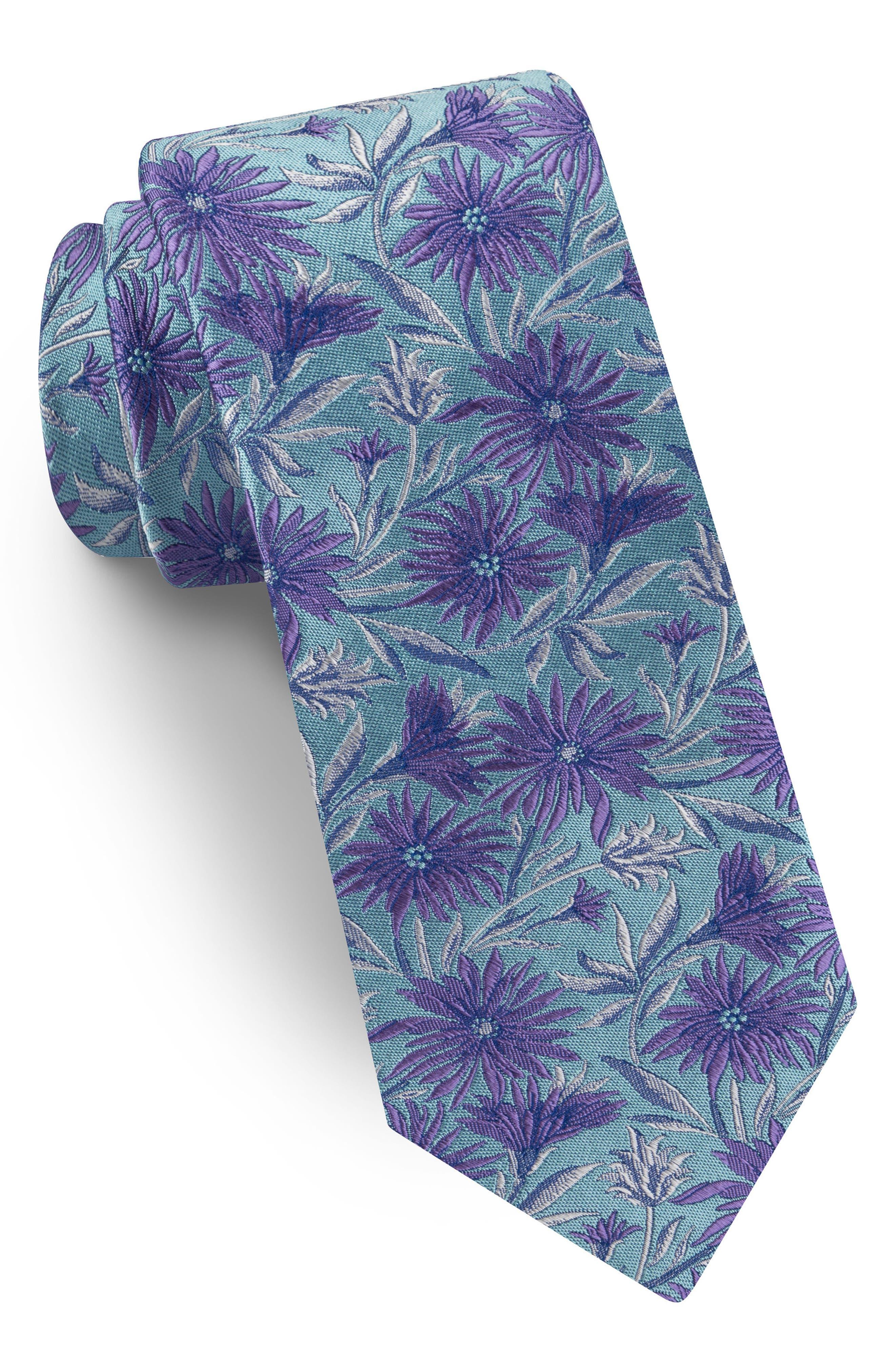 Floral Silk Tie,                         Main,                         color, Aqua