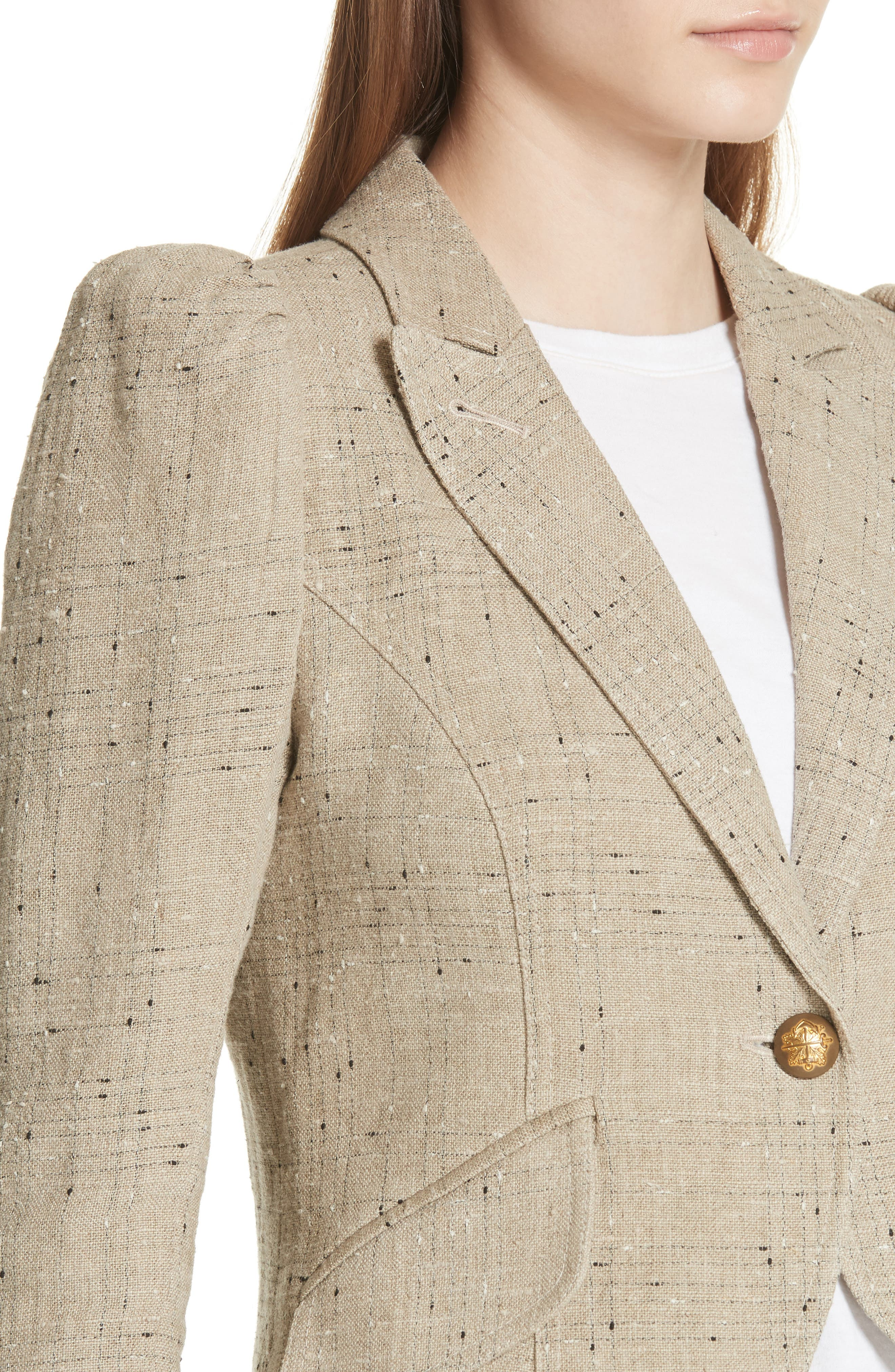 Leather Elbow Patch Linen Blend Blazer,                             Alternate thumbnail 4, color,                             Stone W/ Black Leather